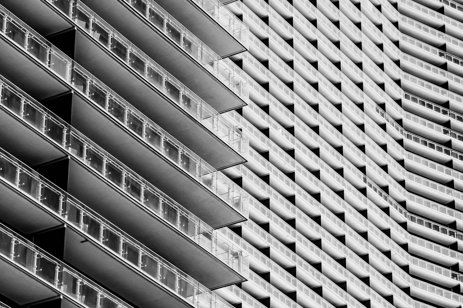 Exterior abstracted detail of The Cosmopolitan of Las Vegas' balconies and windows.