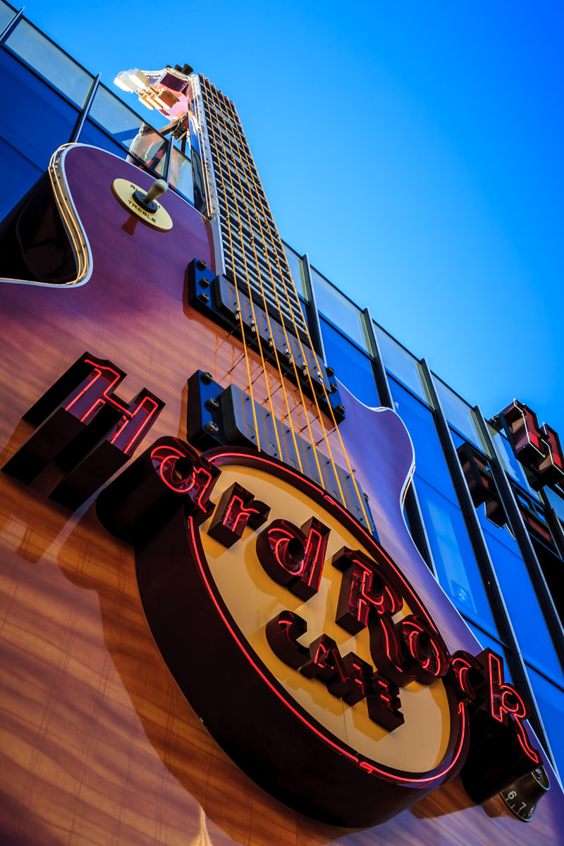 The massive guitar-shaped sign of the Hard Rock Cafe, Las Vegas.
