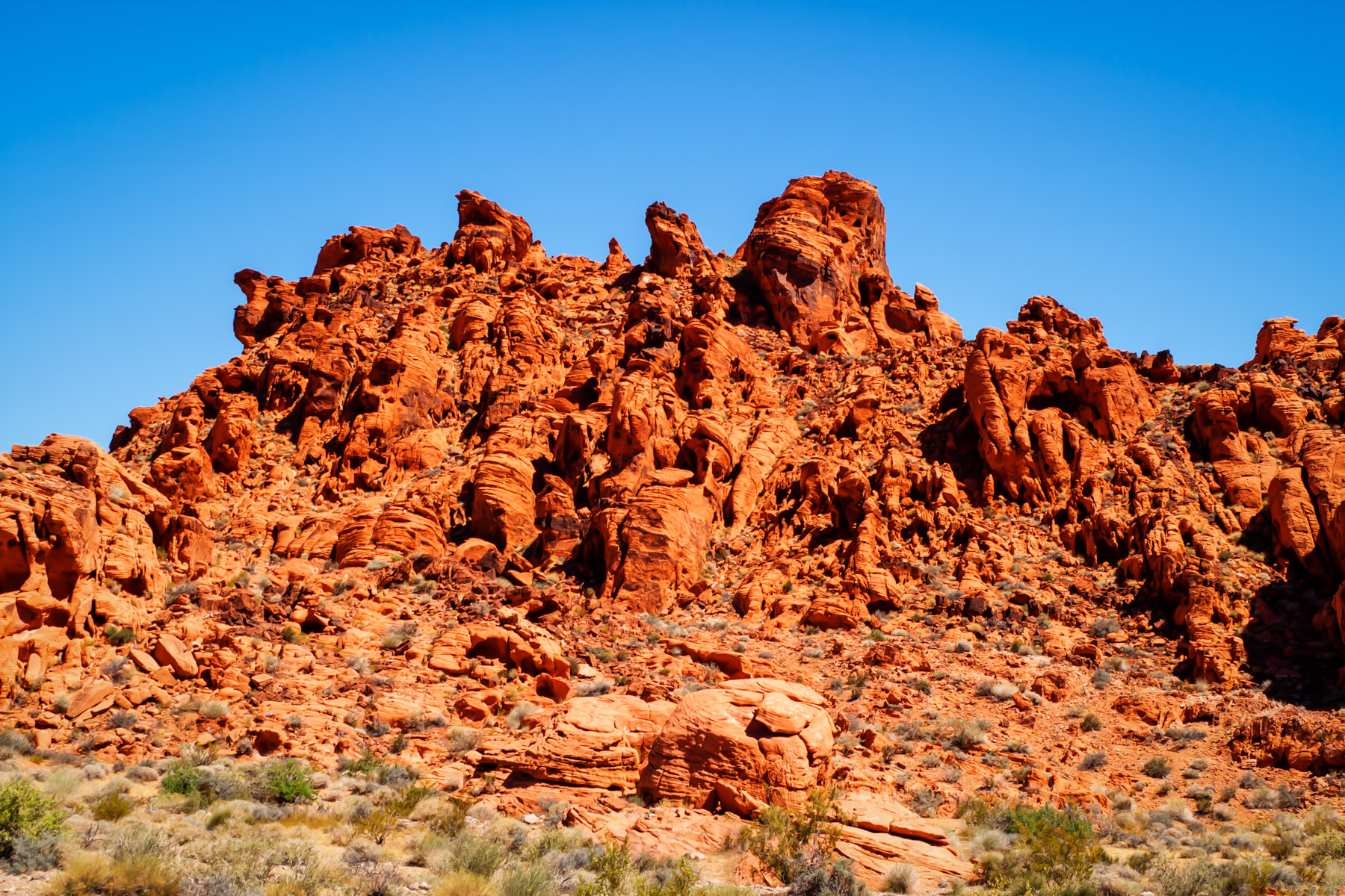 Red rocks rise from the desert at Valley of Fire, Nevada.