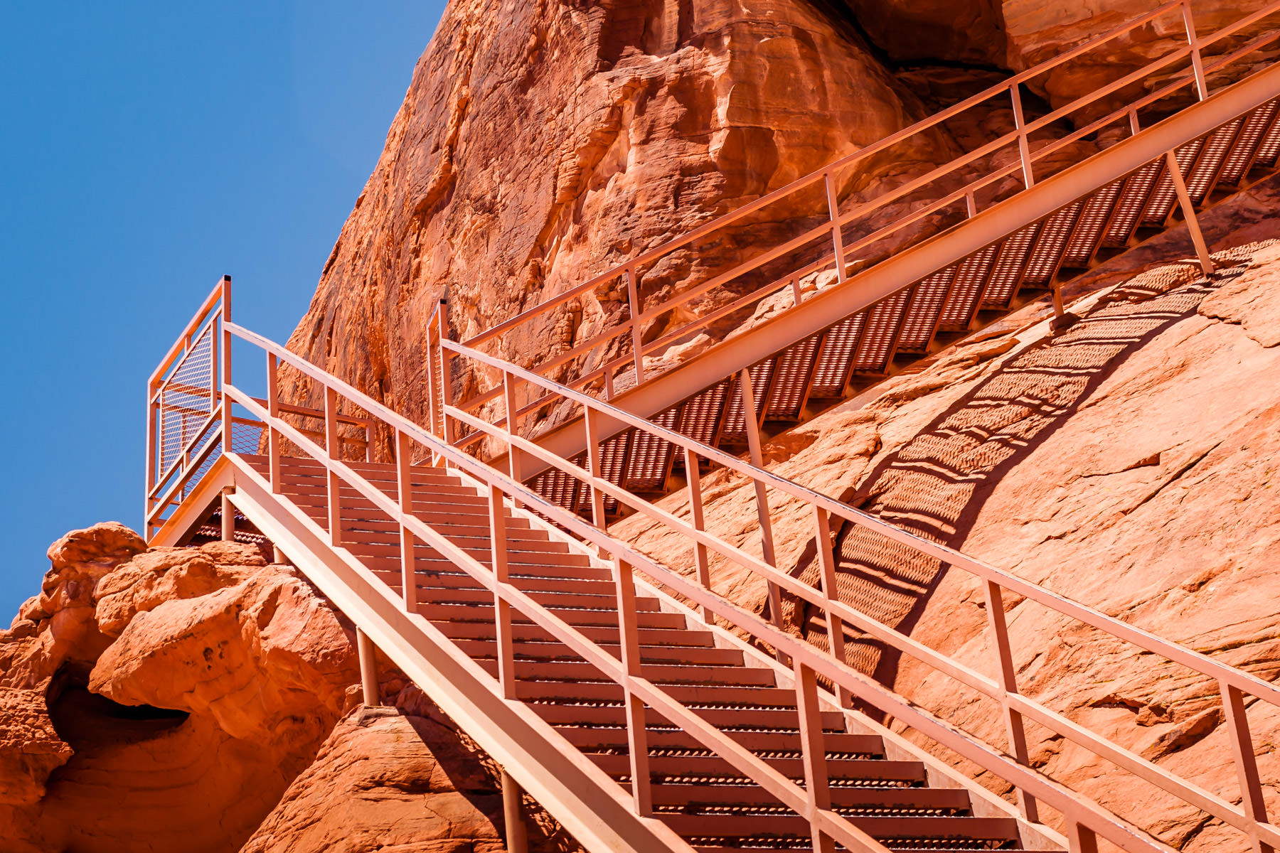 Stairs leading up the face of Atlatl Rock, where one can view ancient petroglyphs at Valley of Fire, Nevada.