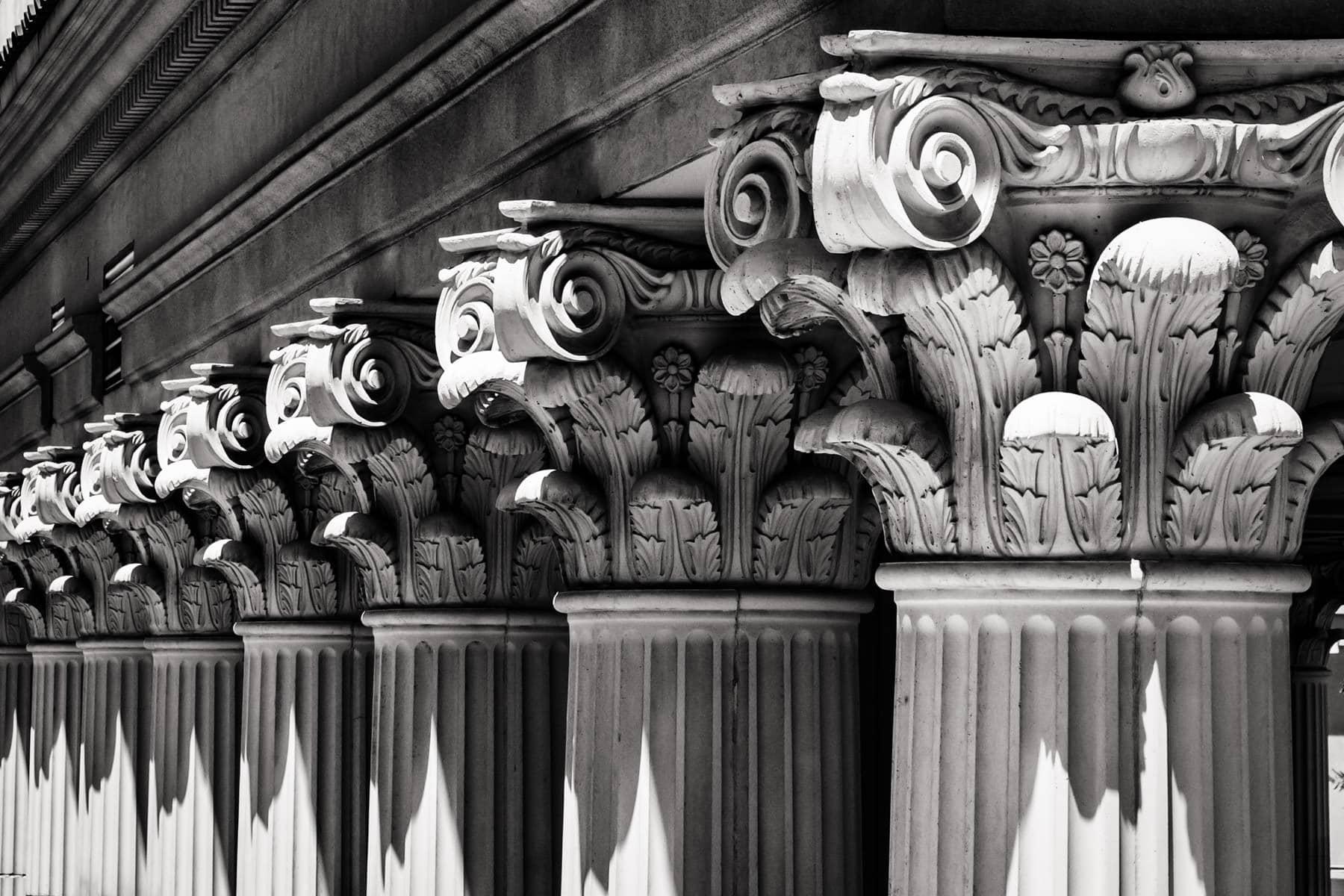 Architectural detail of ornate Corinthian columns at Caesars Palace, Las Vegas.