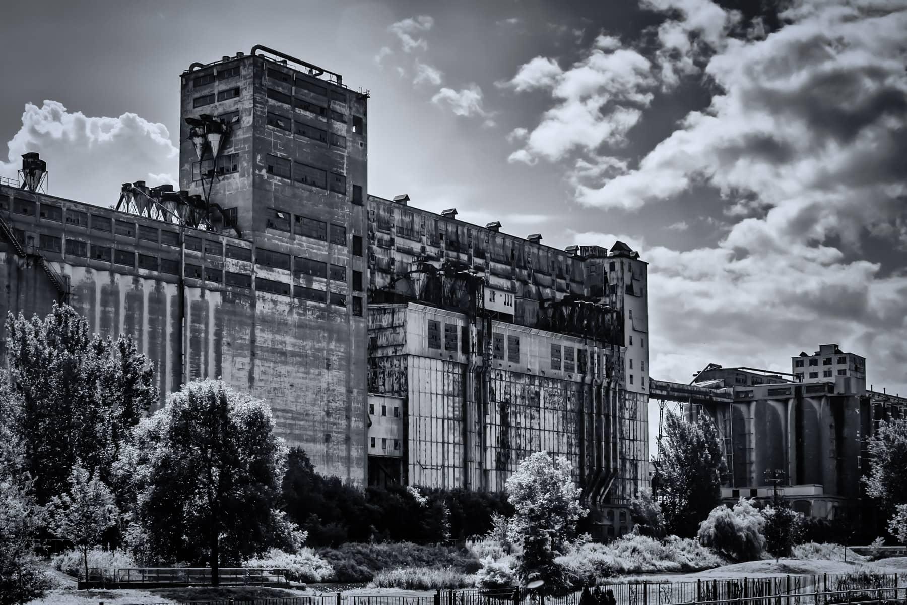 Grain silos in Vieux-Port de Montréal along the Canal de Lachine.