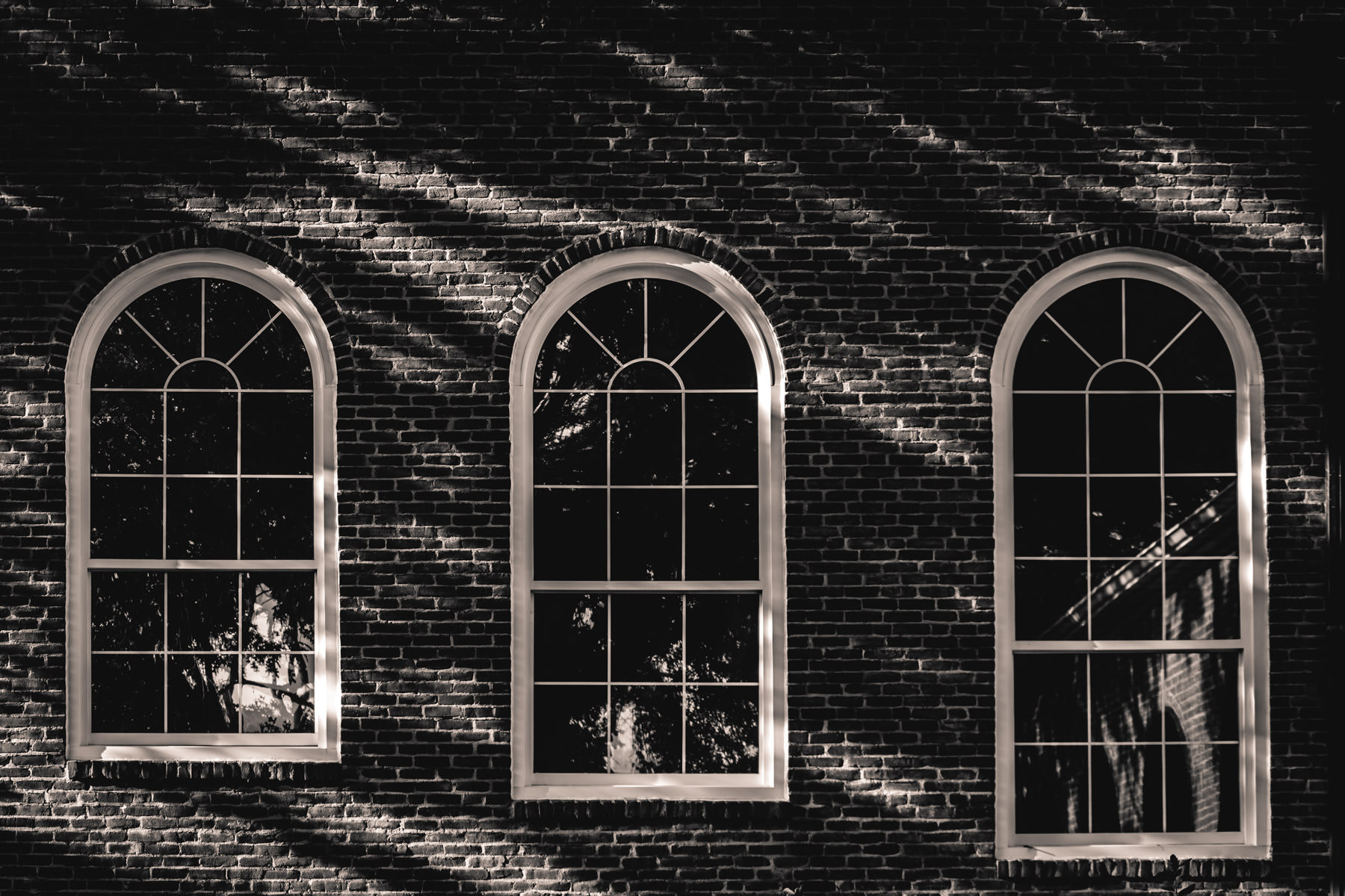 A trio of windows spotted on the campus of Tyler Junior College, Tyler, Texas.
