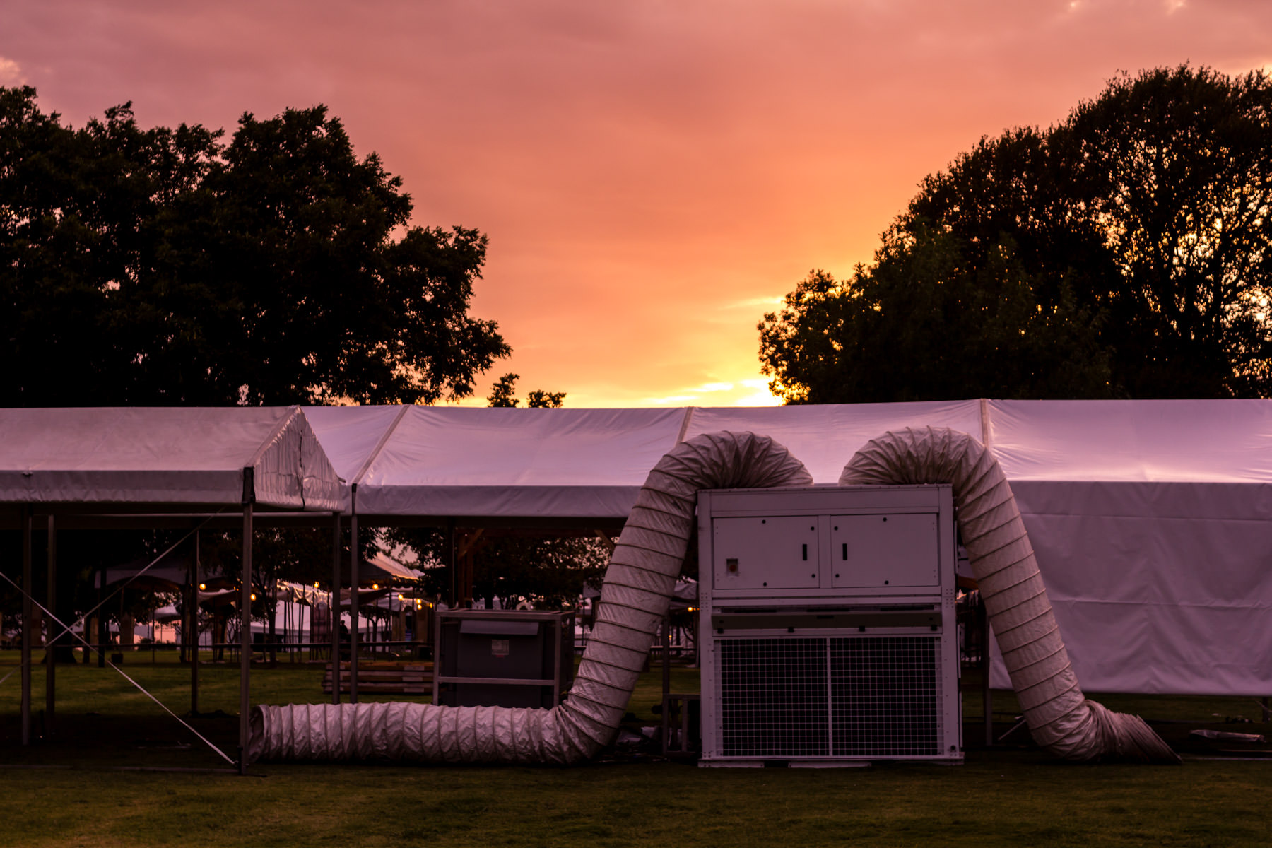 A portable air-conditioning unit being setup to cool Oktoberfest tents at Addison Circle Park, Addison, Texas.