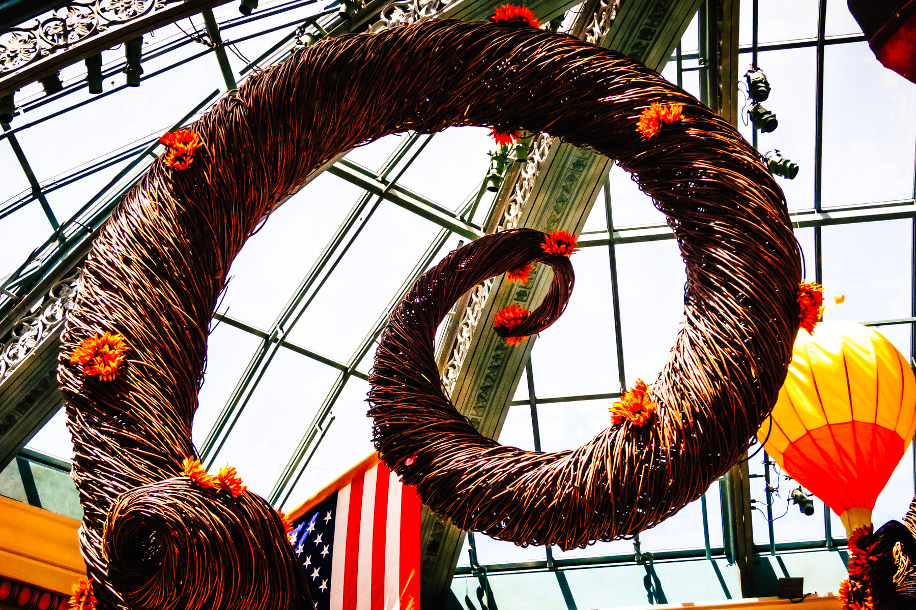 A large wicker decoration in the conservatory at the Bellagio, Las Vegas.