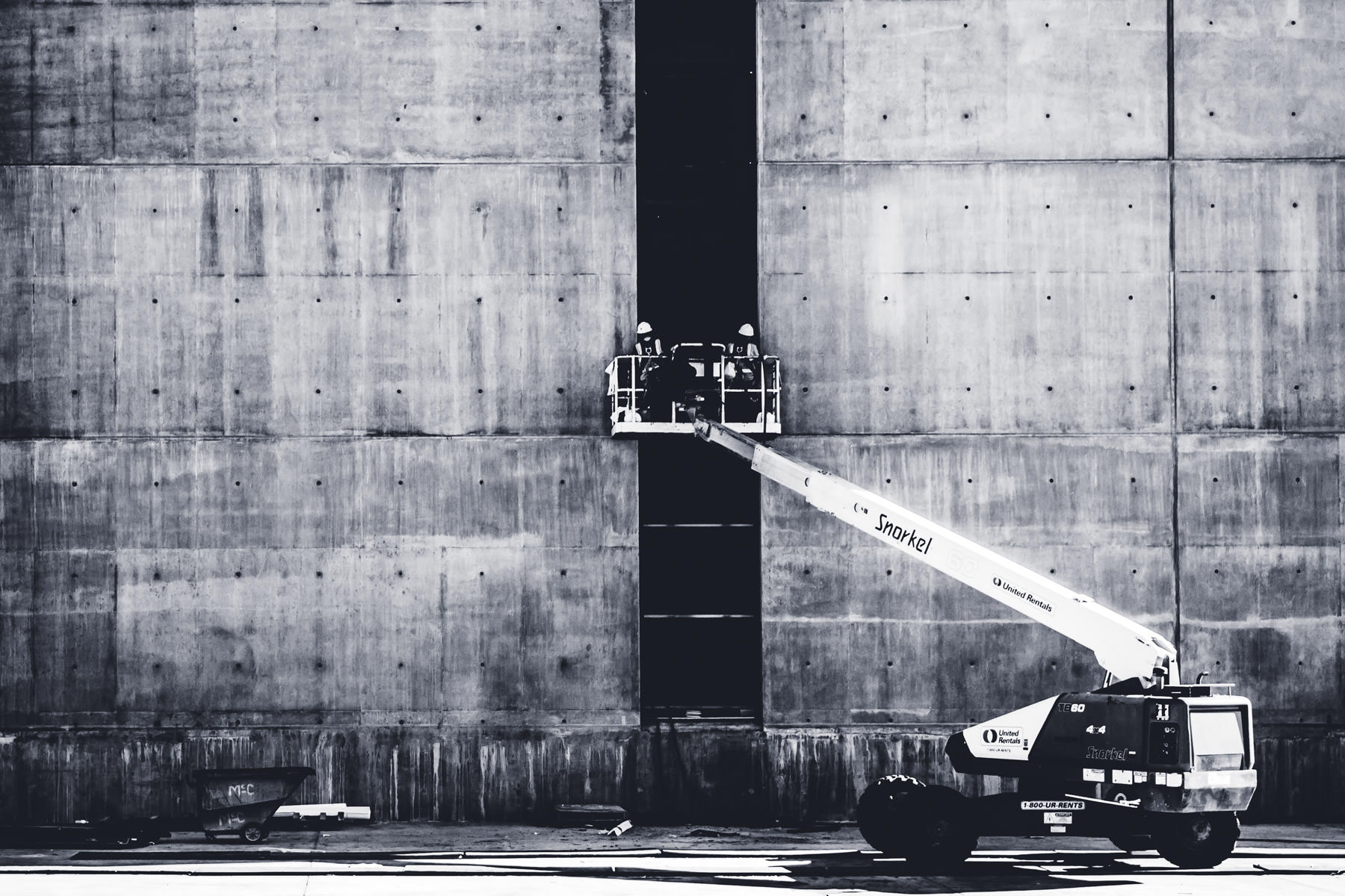 A boom lift at a Downtown Dallas construction site.