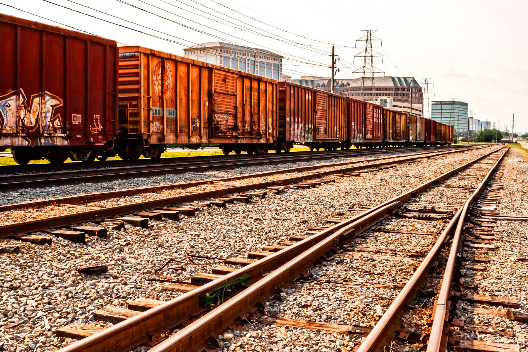 Boxcars idled on a railroad siding in Farmers Branch, Texas.