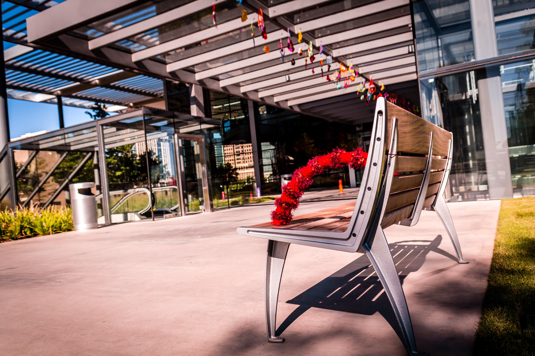 A yarn-bombed bench outside the main entrance to Dallas' Winspear Opera House.