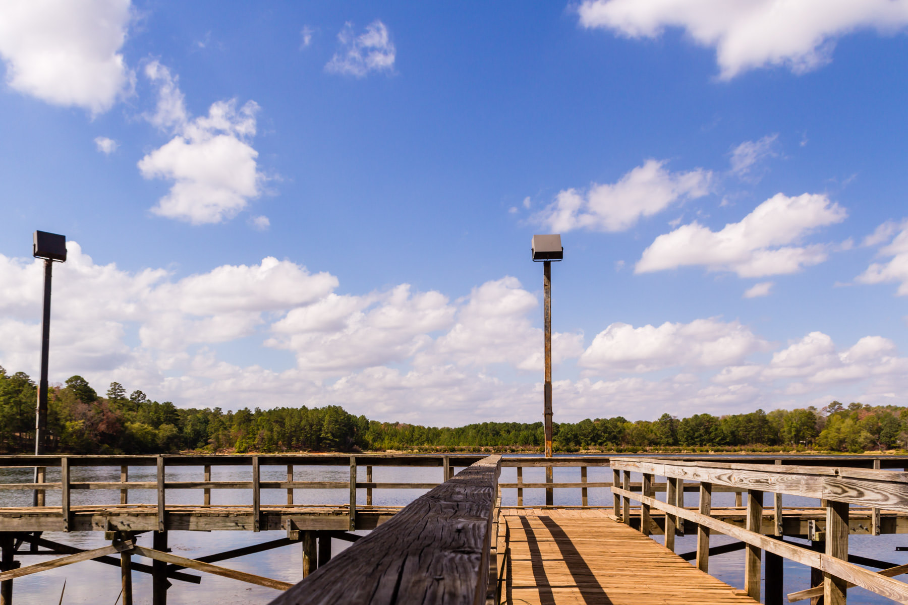 A fishing pier at Tyler State Park, Texas.
