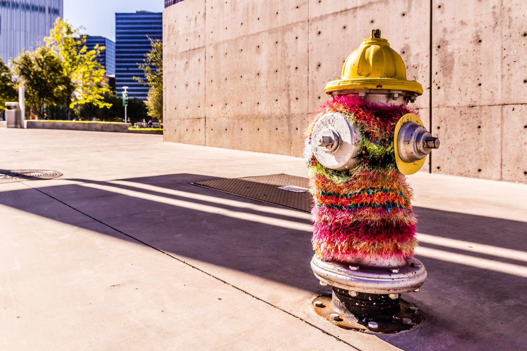A yarn-bombed fire hydrant in the Dallas Arts District.