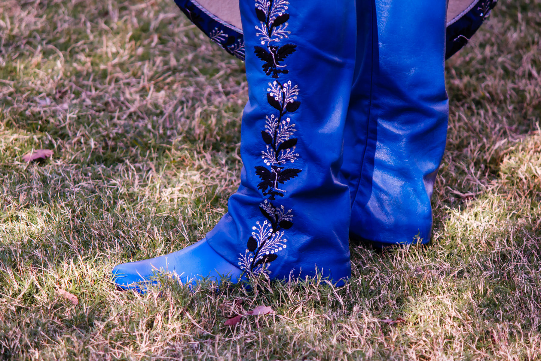 A gaucho's ornate pants and boots spotted at WorldFest, Addison, Texas.