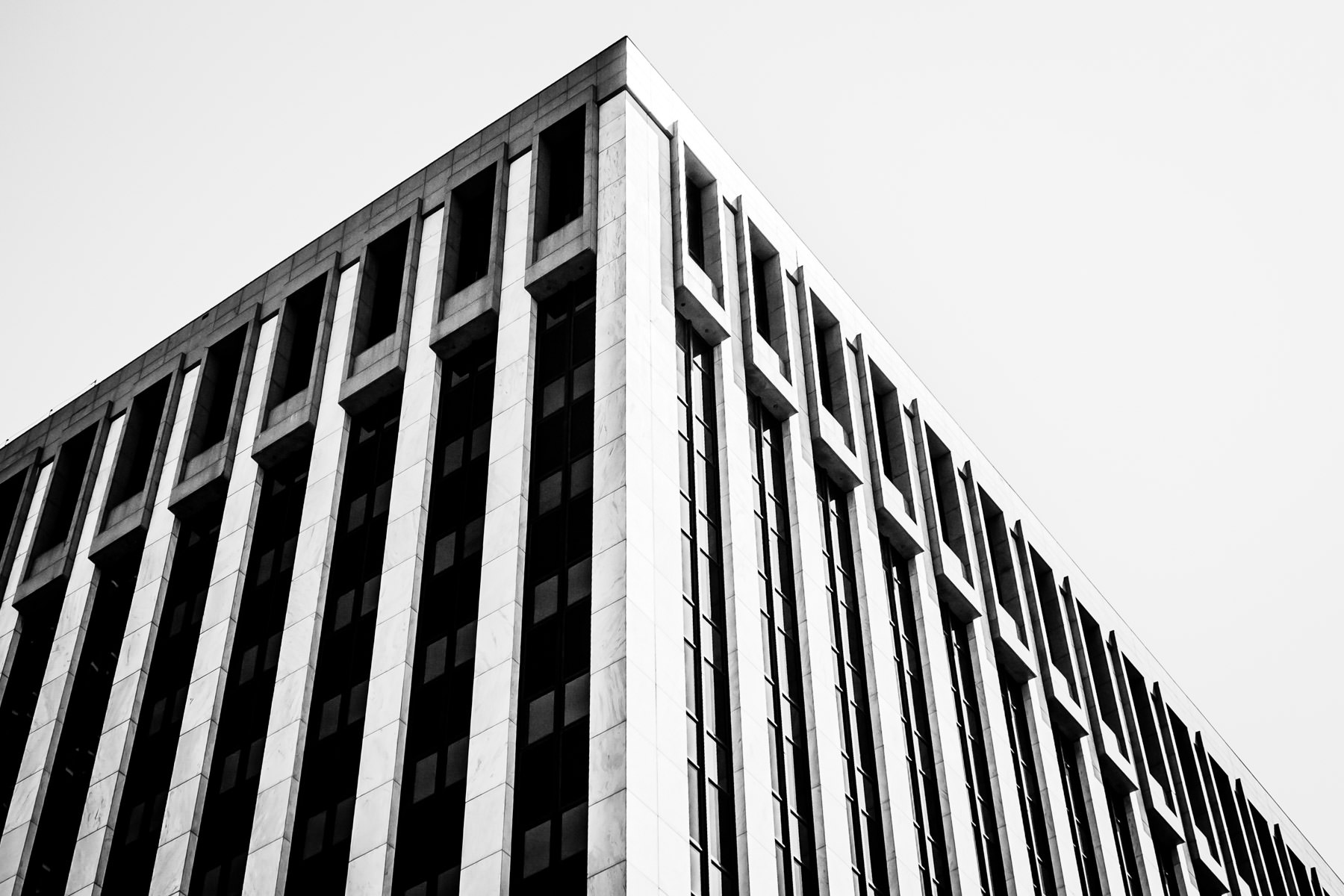 The stark architecture of a Downtown Dallas building.