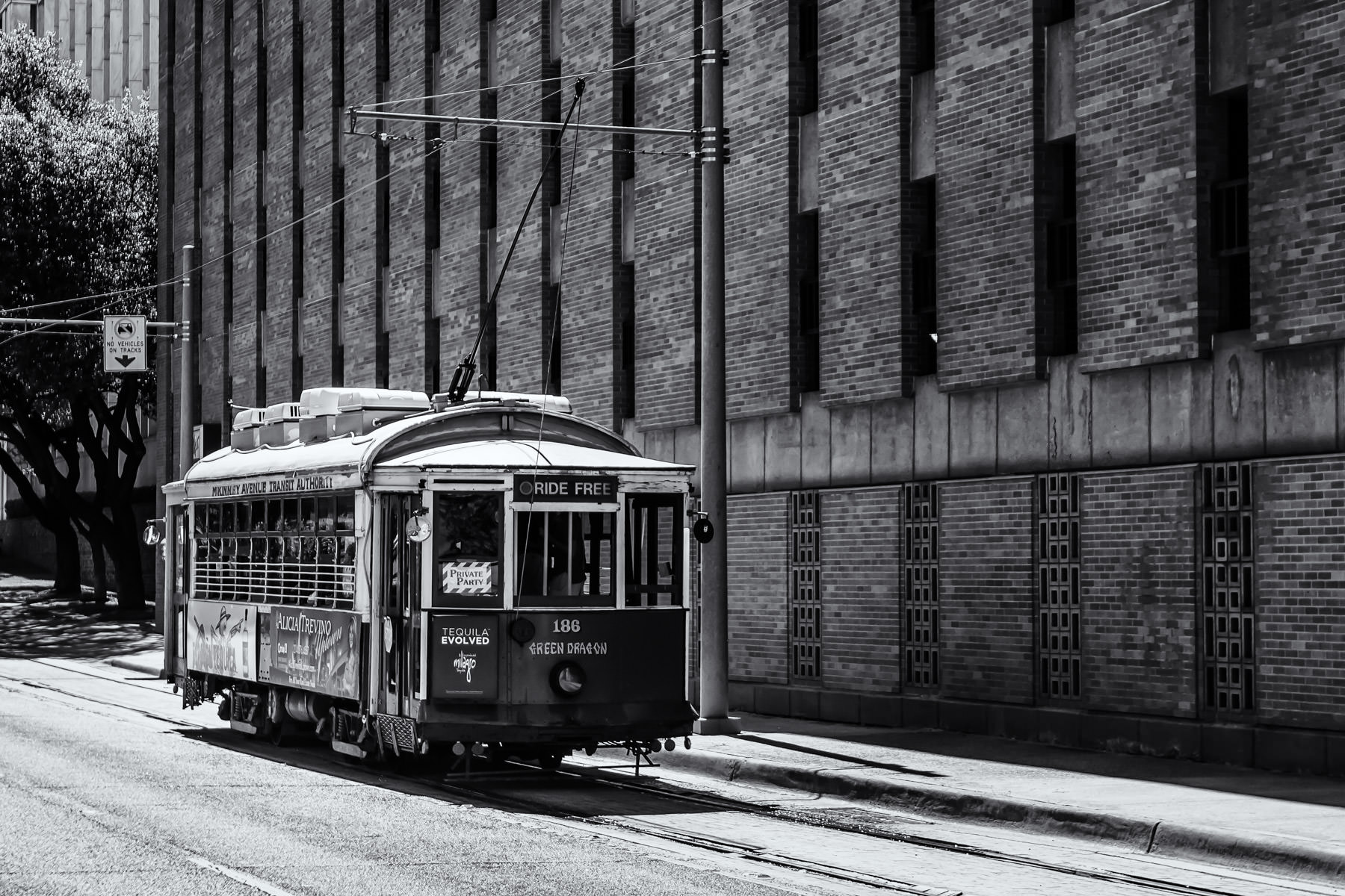 One of Dallas' McKinney Avenue Transit Authority's restored trolleys serves Uptown Dallas.  This car—the Green Dragon—was built in 1913.