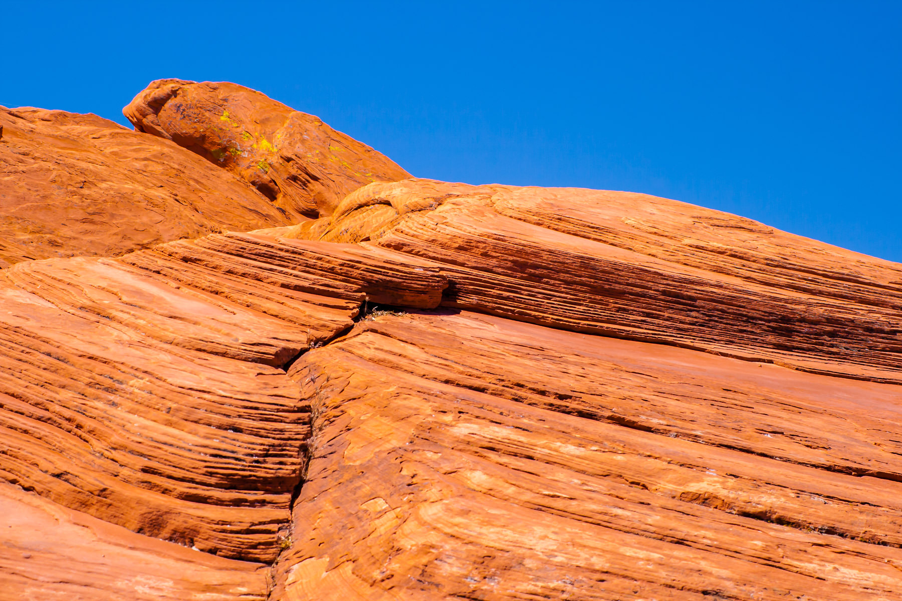 Striated rock layers from eons of erosion at Valley of Fire, Nevada.