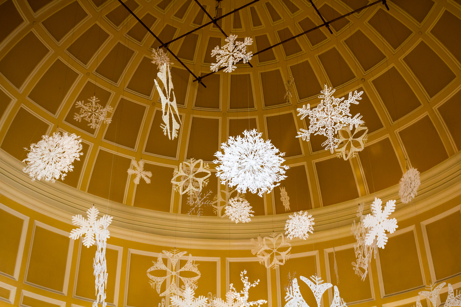 Decorative snowflakes herald the arrival of winter in the Conservatory at the Bellagio, Las Vegas.