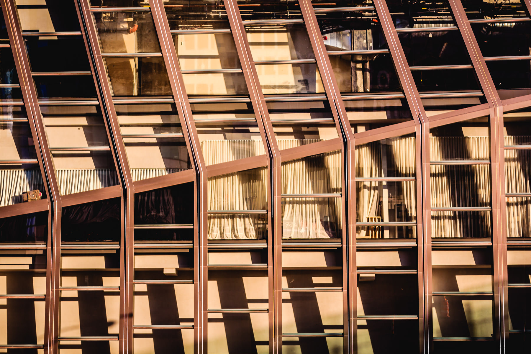Detail of the large lobby windows at the Cosmopolitan of Las Vegas.