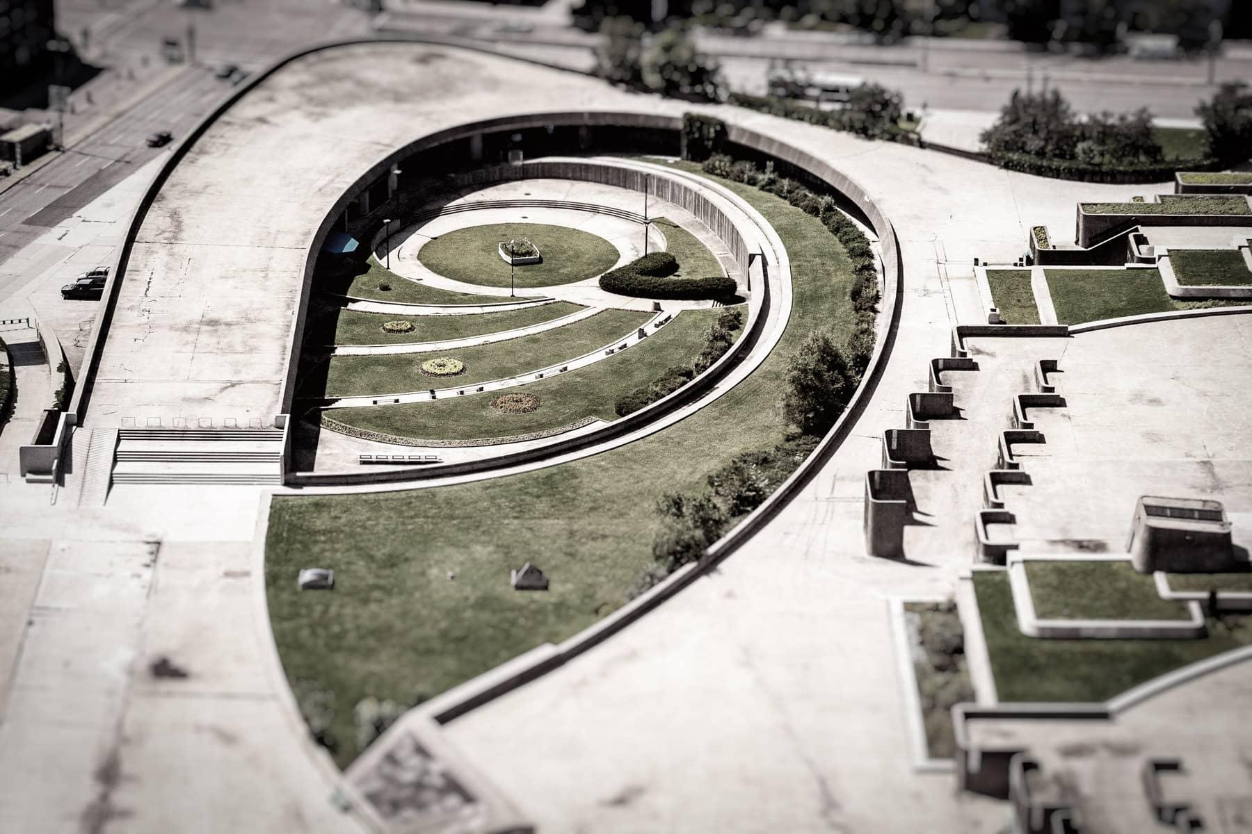 Detail of the grounds of the Stade olympique de Montréal as seen from La tour de Montréal.