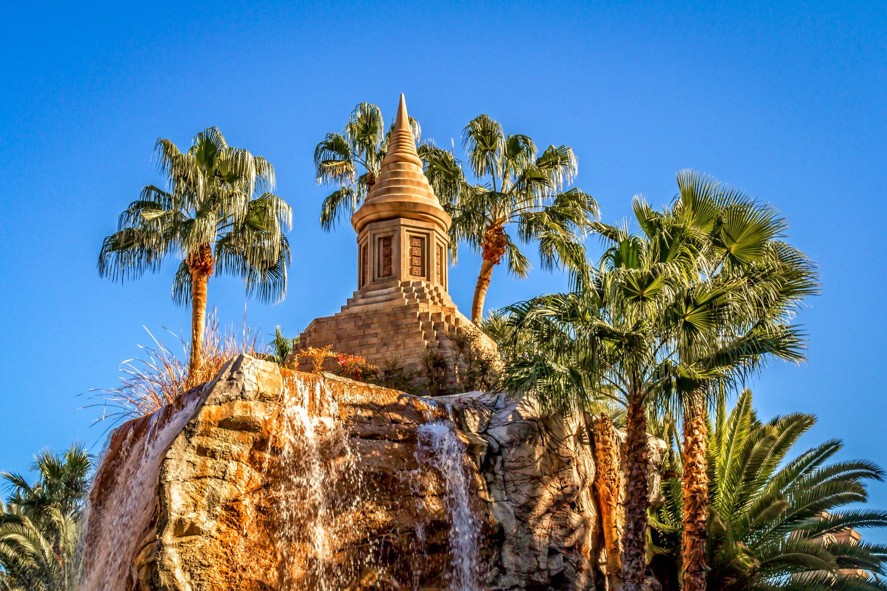 A small decorative temple atop a fountain spotted at the Mandalay Bay Hotel & Casino, Las Vegas.