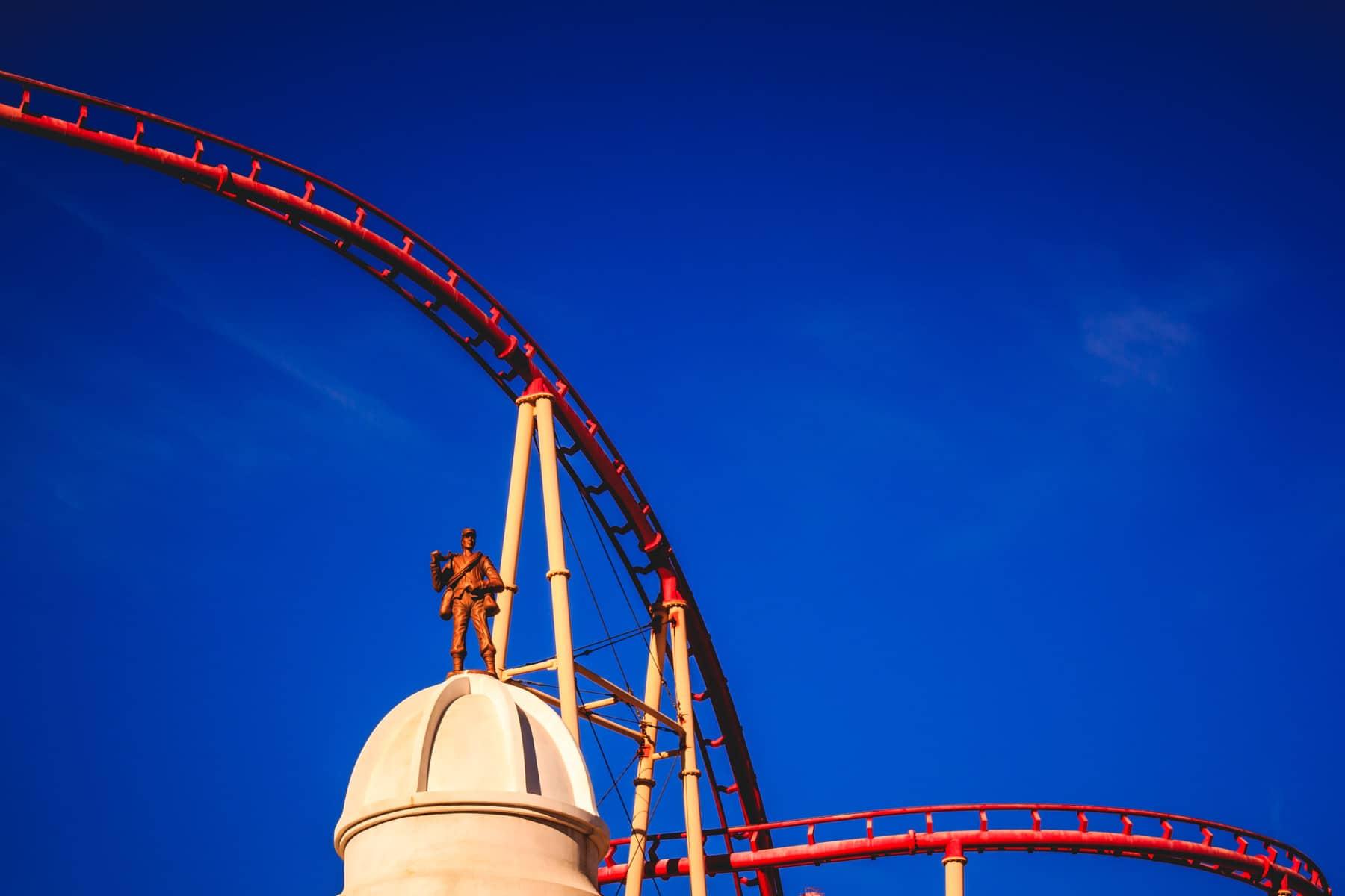 The casino's roller coaster arcs across the sky at New York New York Hotel & Casino, Las Vegas.
