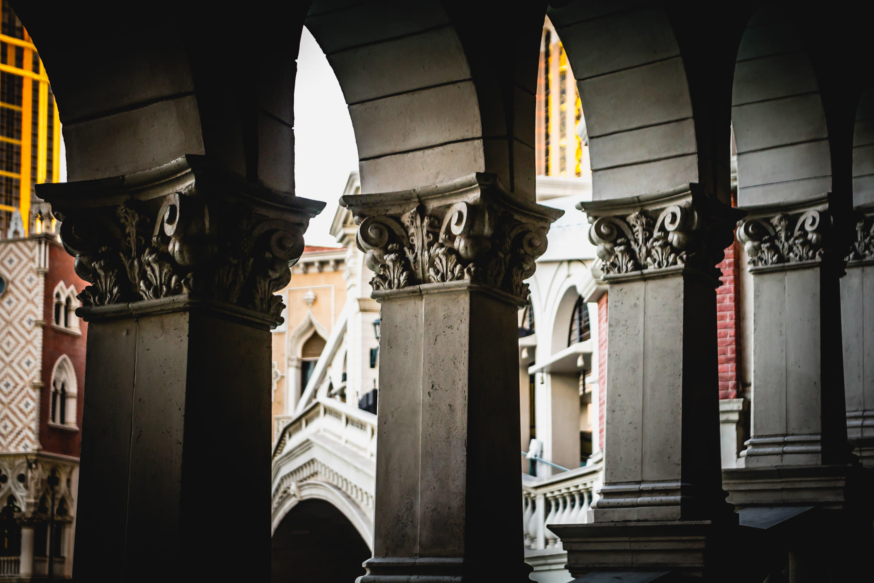 Arched windows on the bridge leading to The Venetian, Las Vegas.