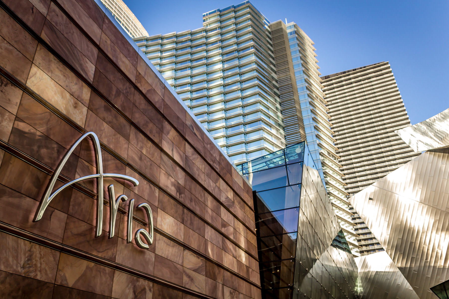 Ground-level signage at The Aria Hotel & Casino, CityCenter, Las Vegas.