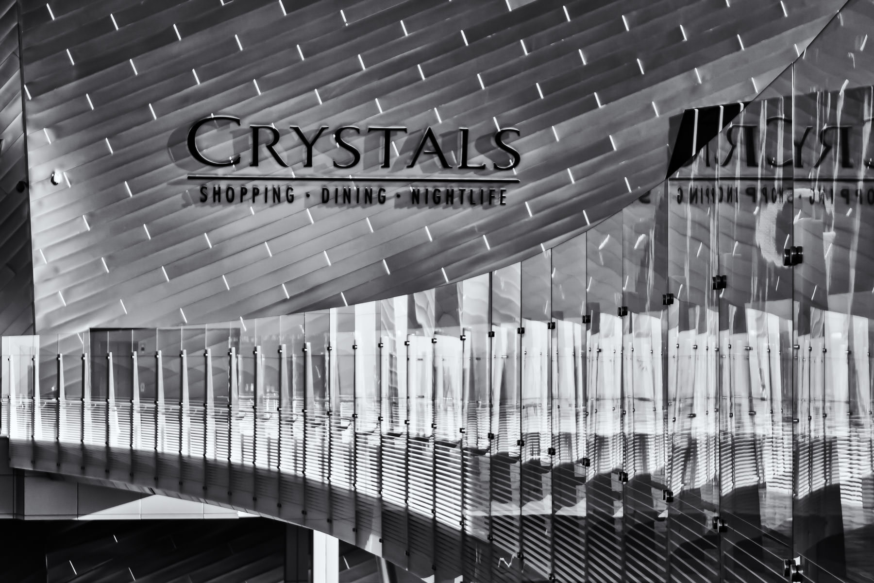 A glass bridge leads to The Crystals at CityCenter, Las Vegas.