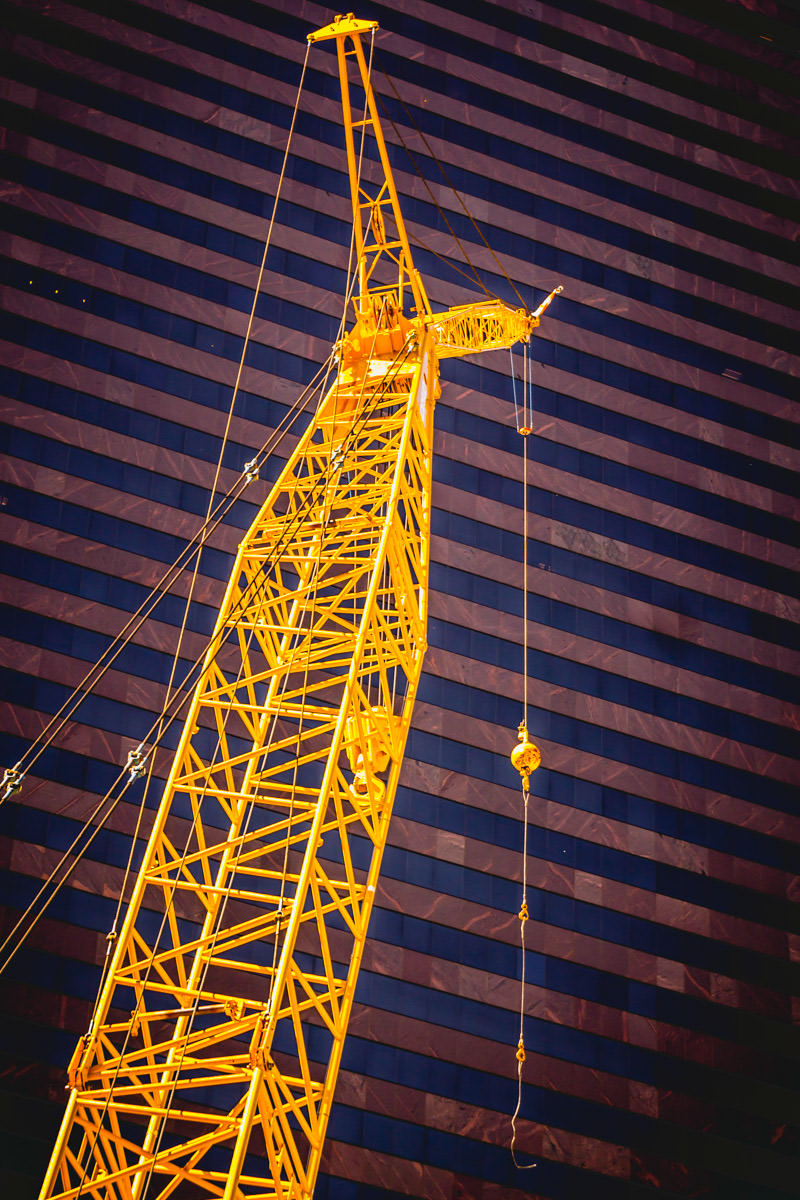 Detail of a crane at a construction site in Downtown Dallas.