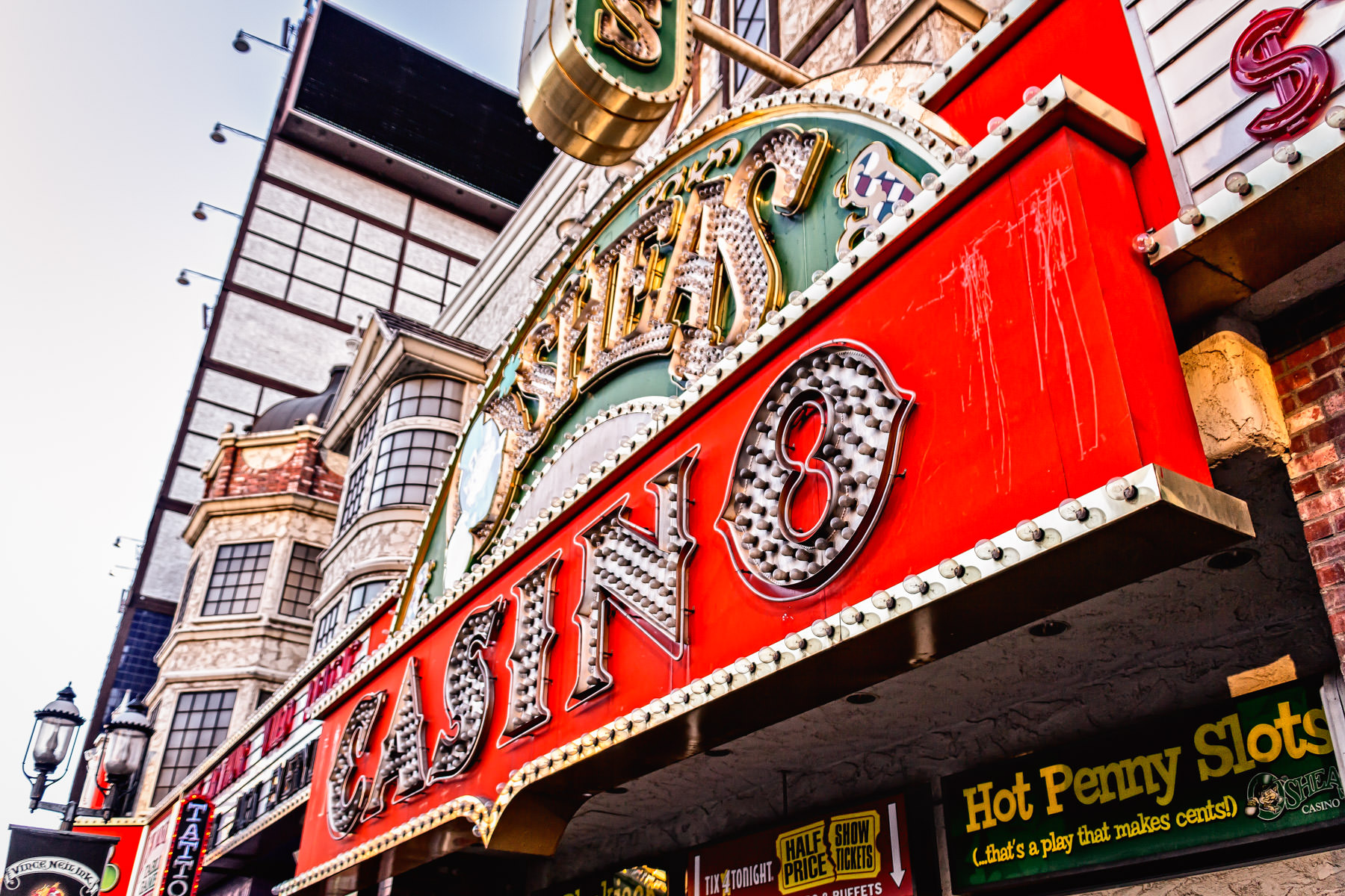 Exterior detail of O'Shea's Casino, Las Vegas.