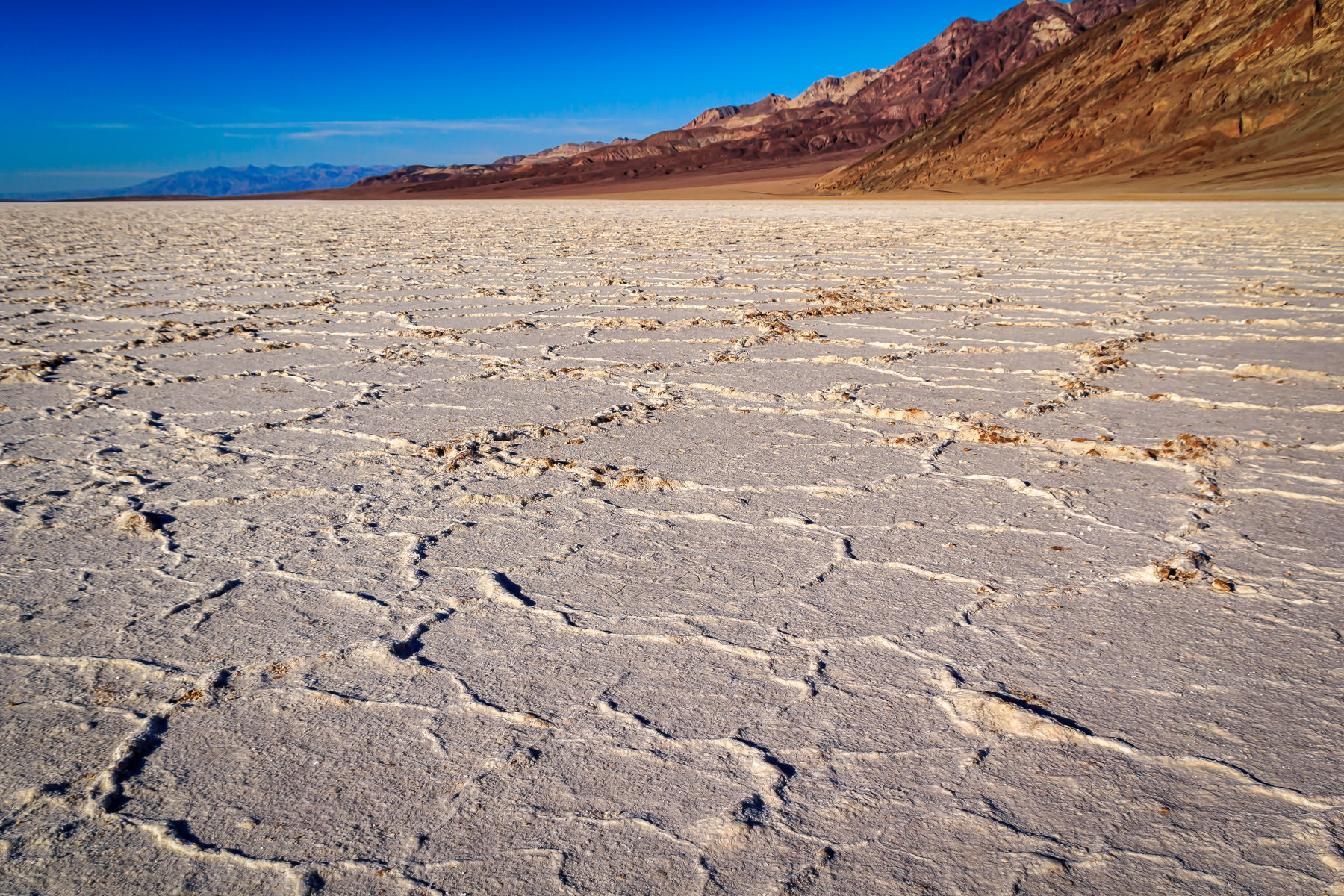 The salt flats of Badwater Basin—the lowest point in the United States—at Death Valley National Park, California.