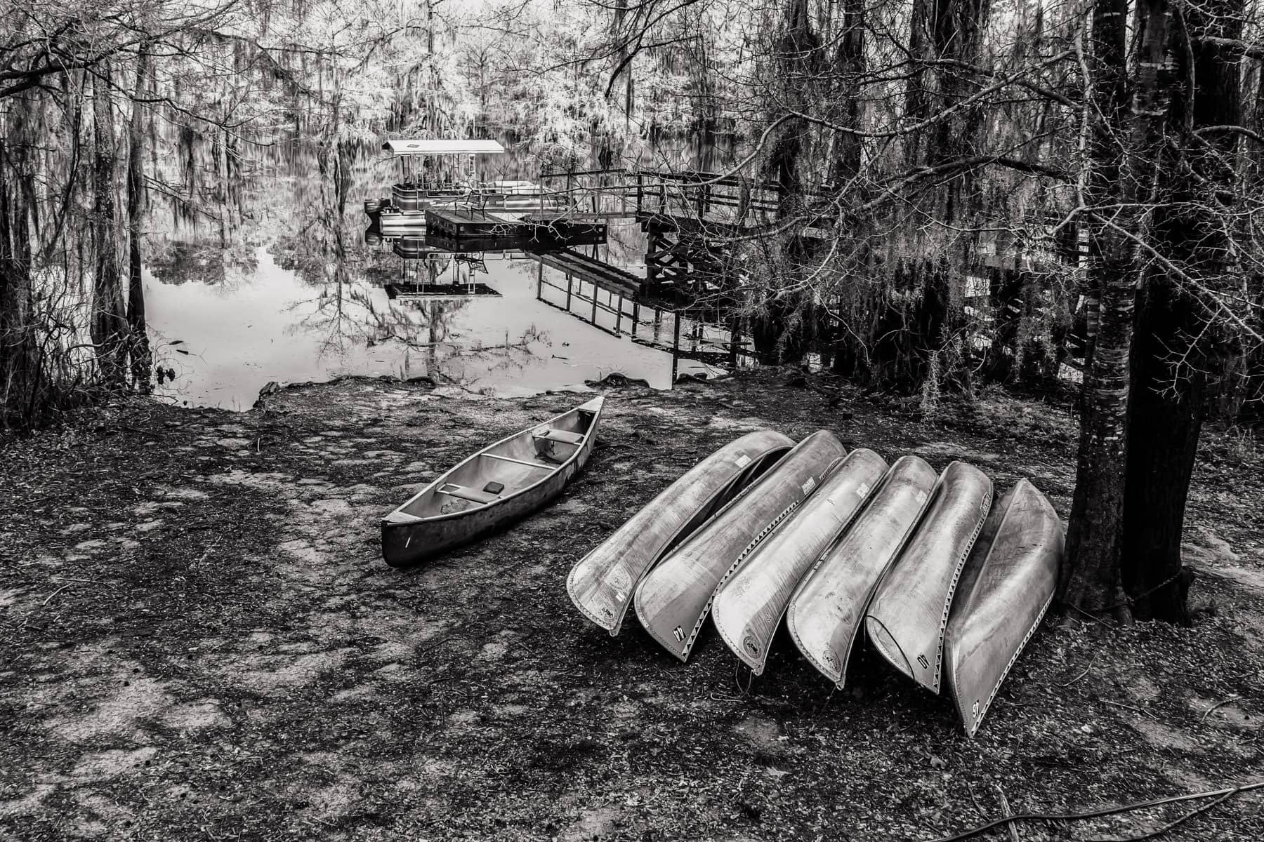 Canoes ashore at Caddo Lake State Park, Texas.