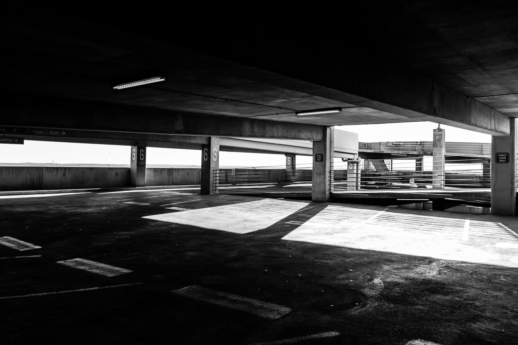 An empty parking garage in downtown Fort Worth, Texas.