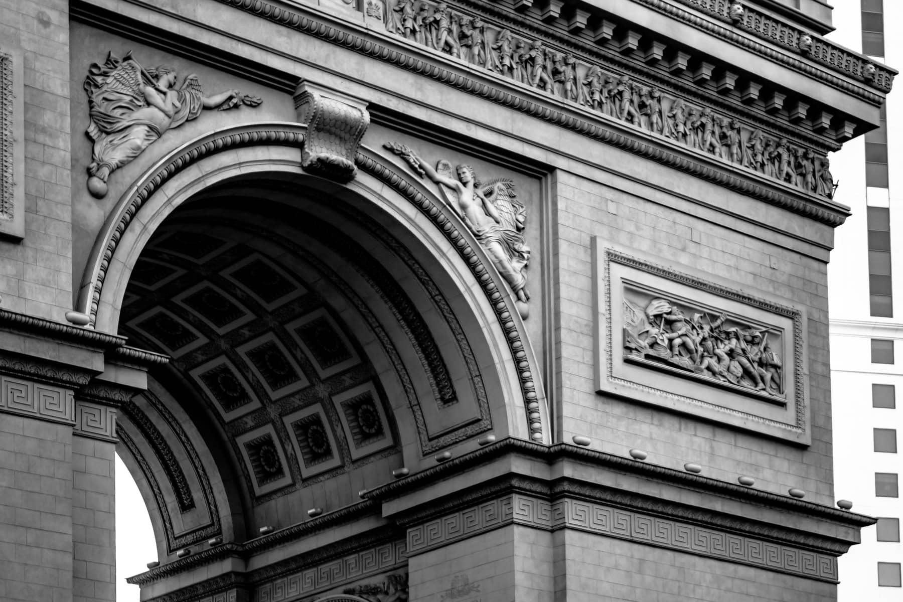 Detail of Paris Hotel & Casino's reproduction of the Arc de Triomphe, Las Vegas.