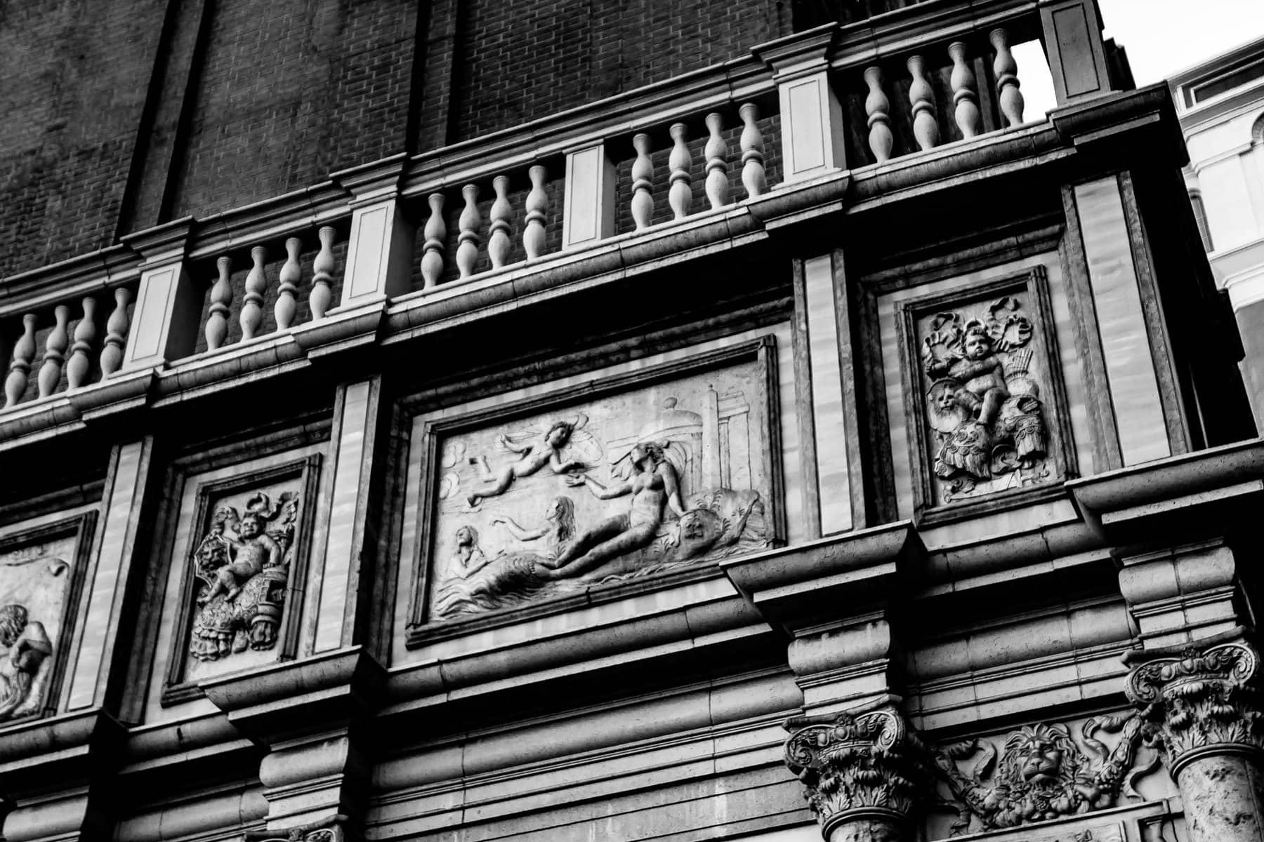 Detail of bas-relief sculptures at The Venetian, Las Vegas.