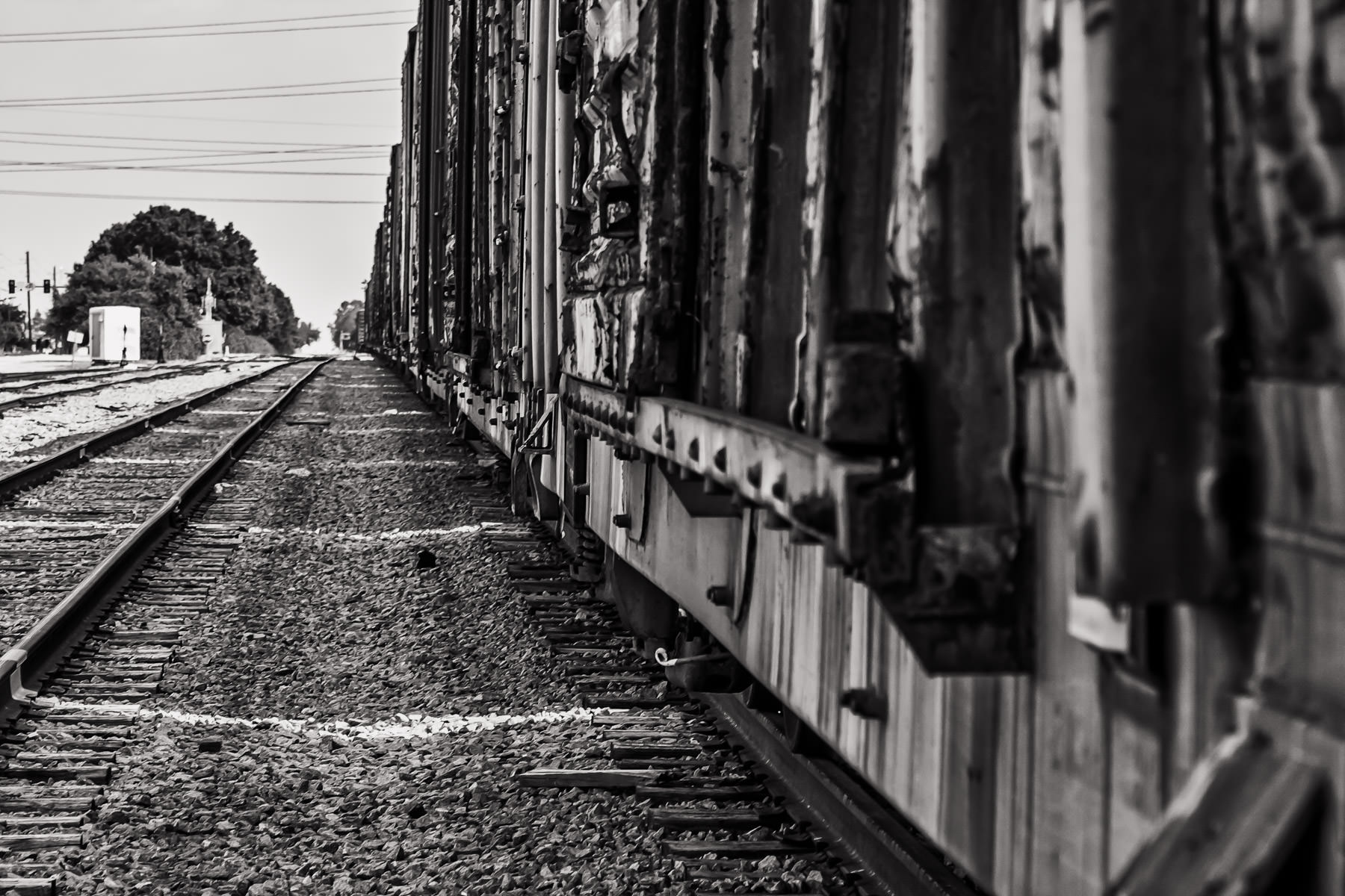 Boxcars on a rail siding in Farmers Branch, Texas.
