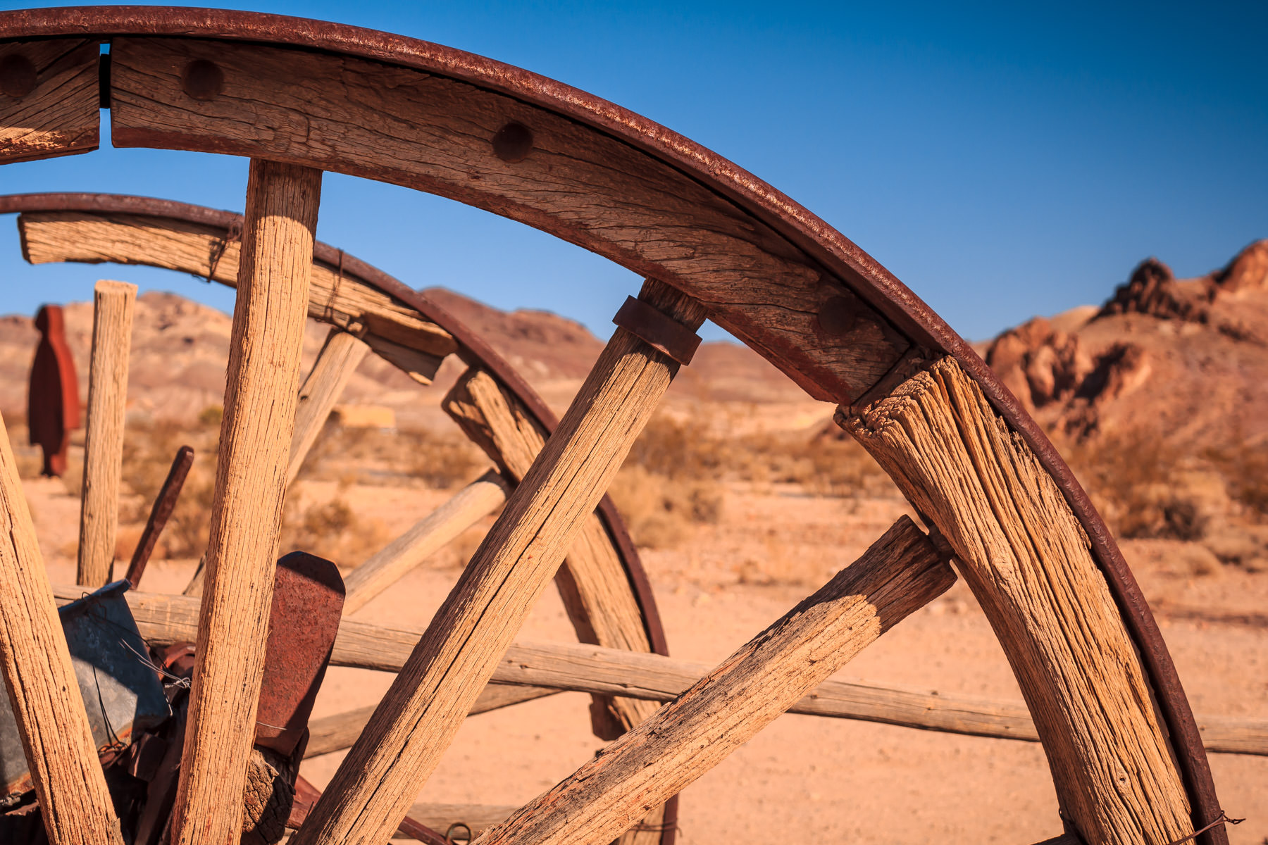 Wagon wheels spotted in the ghost town of Rhyolite, Nevada.