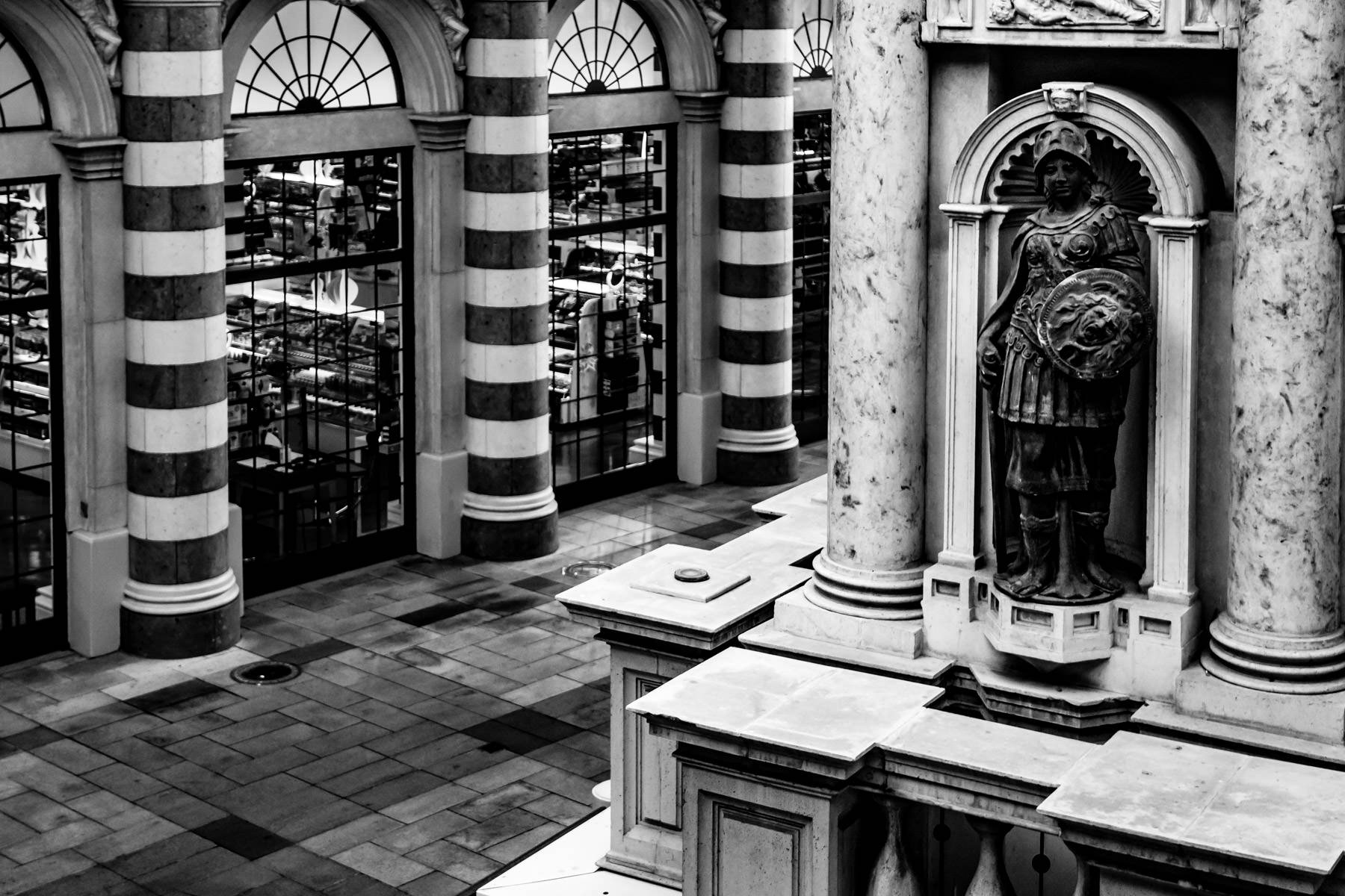 A statue seems to guard over the Sephora shop at The Venetian, Las Vegas.