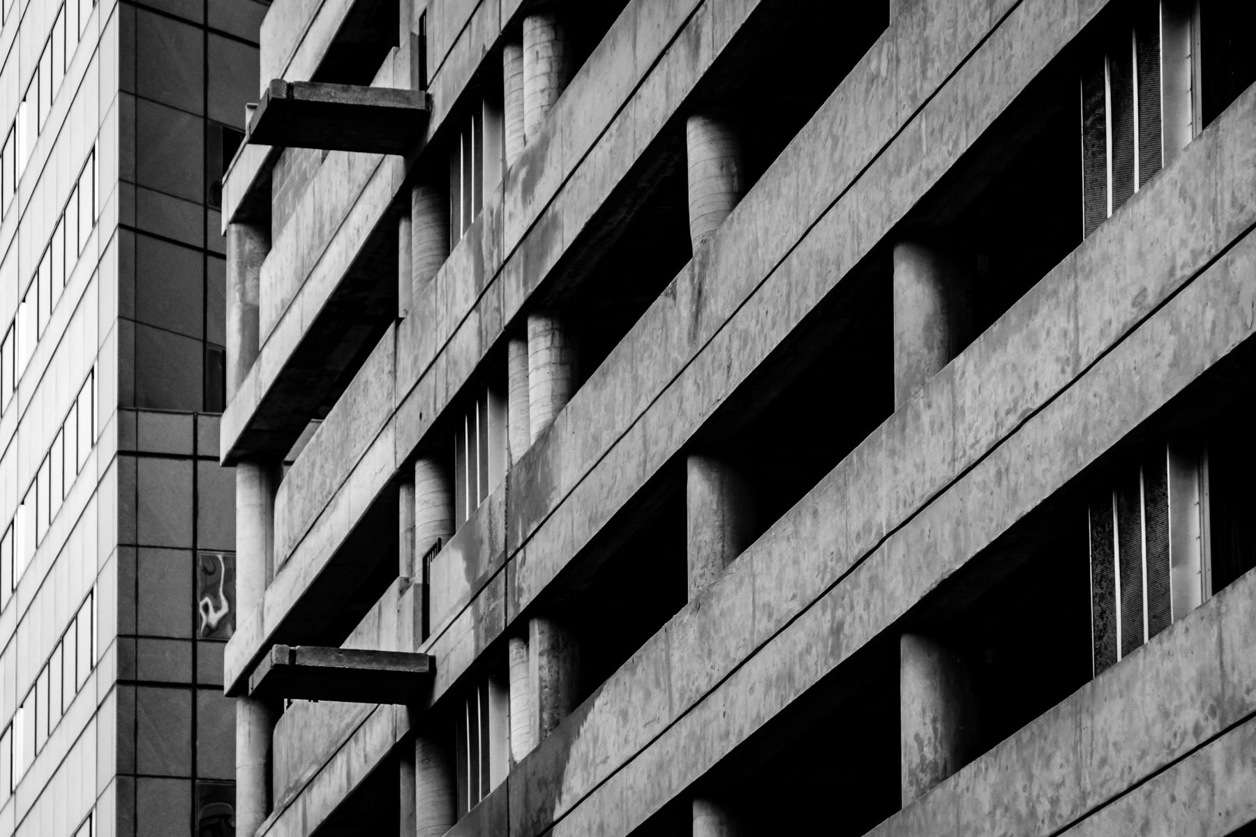 An abstracted view of the exterior of a Downtown Dallas parking garage.