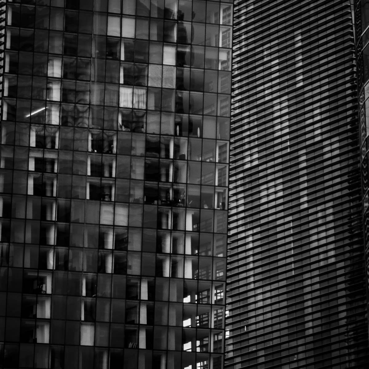 Abstract architectural detail of Las Vegas' Veer Towers at CityCenter.