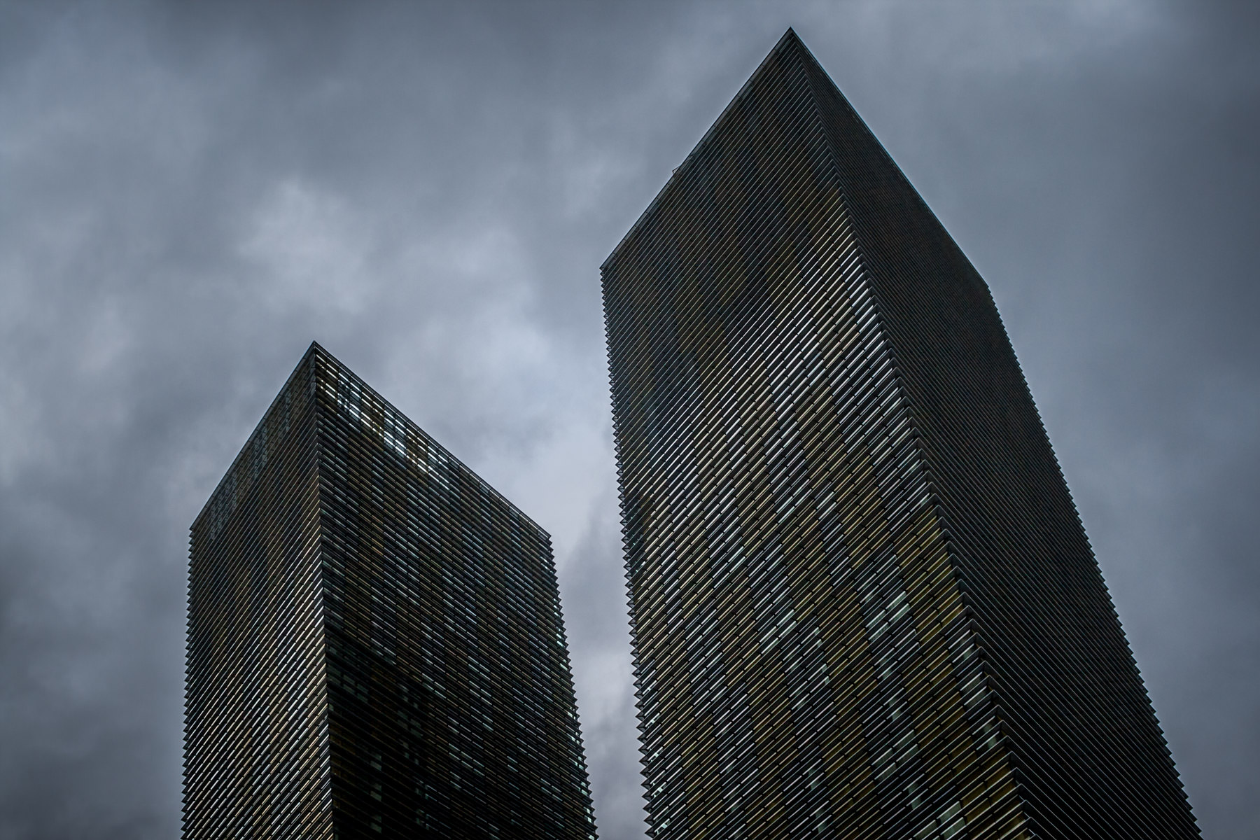 Storm clouds form over the Las Vegas Valley in this shot of CityCenter's Veer Towers.