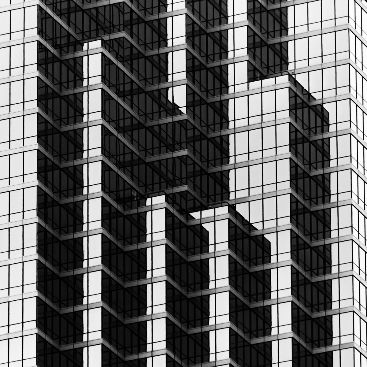 Architectural detail of Dallas' tallest building, the Bank of America Plaza.
