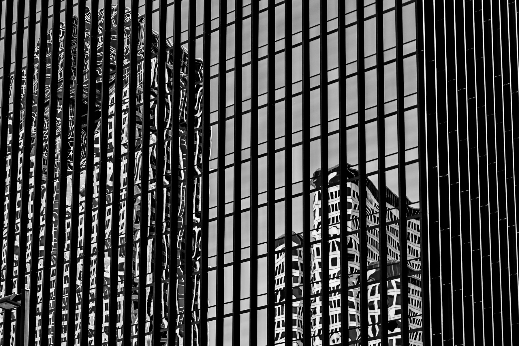 Abstract reflections of skyscrapers spotted in Downtown Dallas.