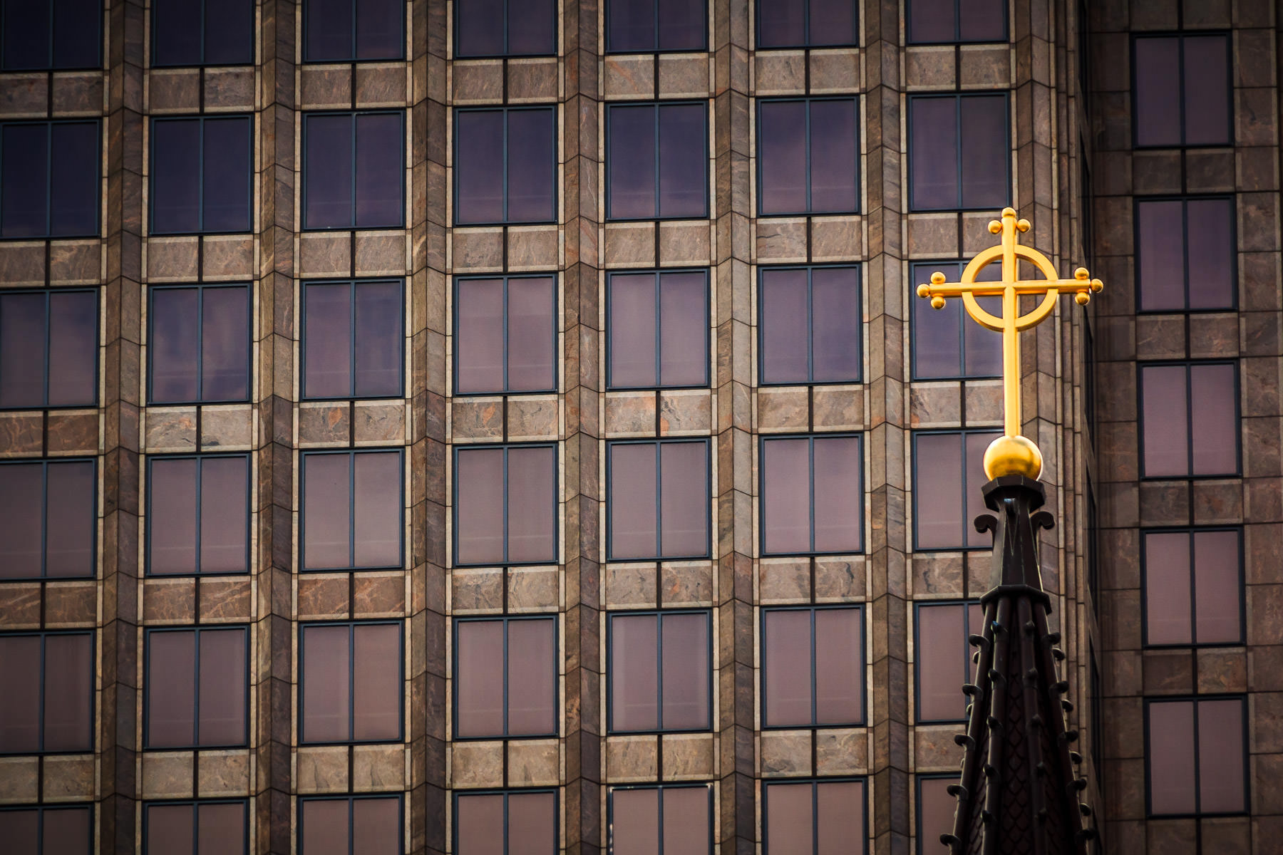 A cross atop the Cathedral Shrine of the Virgin of Guadalupe in the Dallas Arts District.