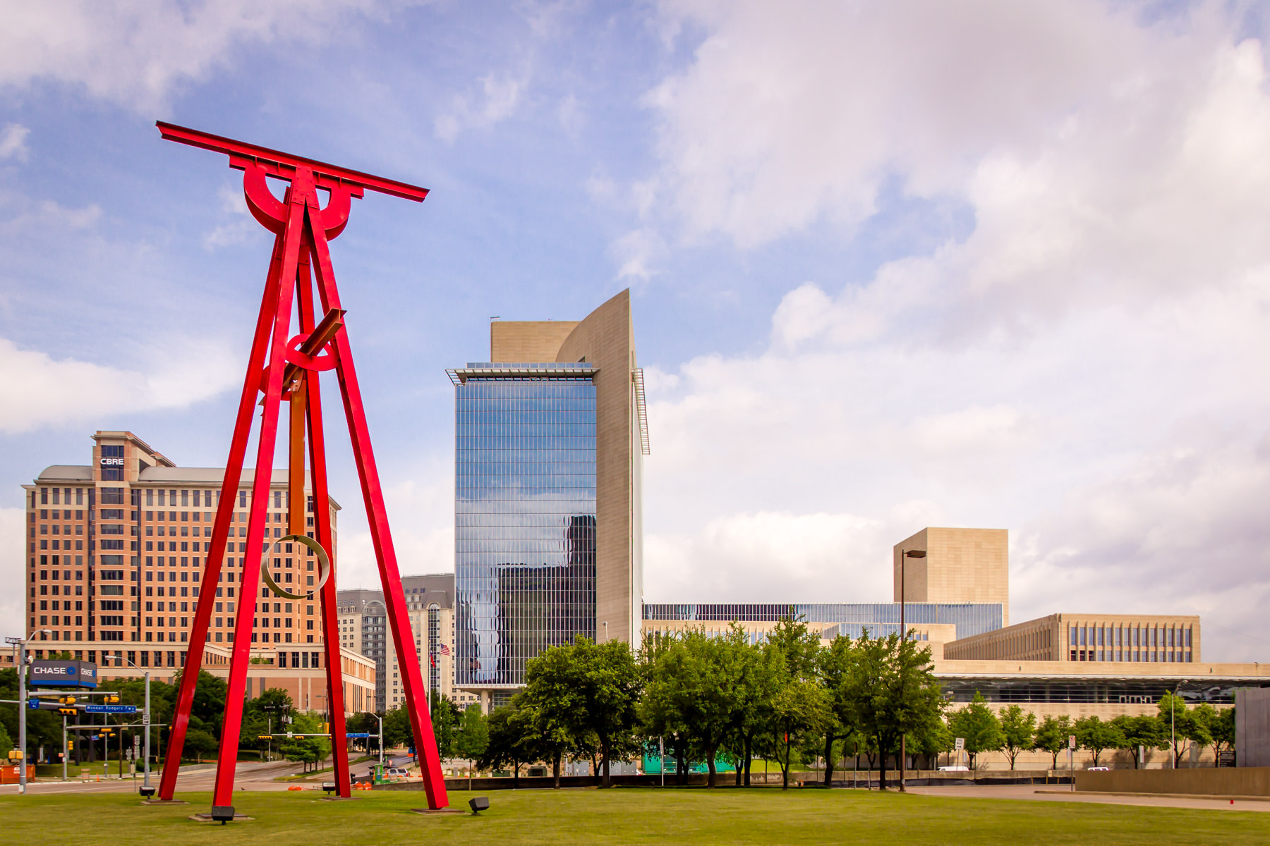 "Mark Di Suvero's ""Proverb"" rises over the Dallas Arts District on the north lawn of the Meyerson Symphony Center."