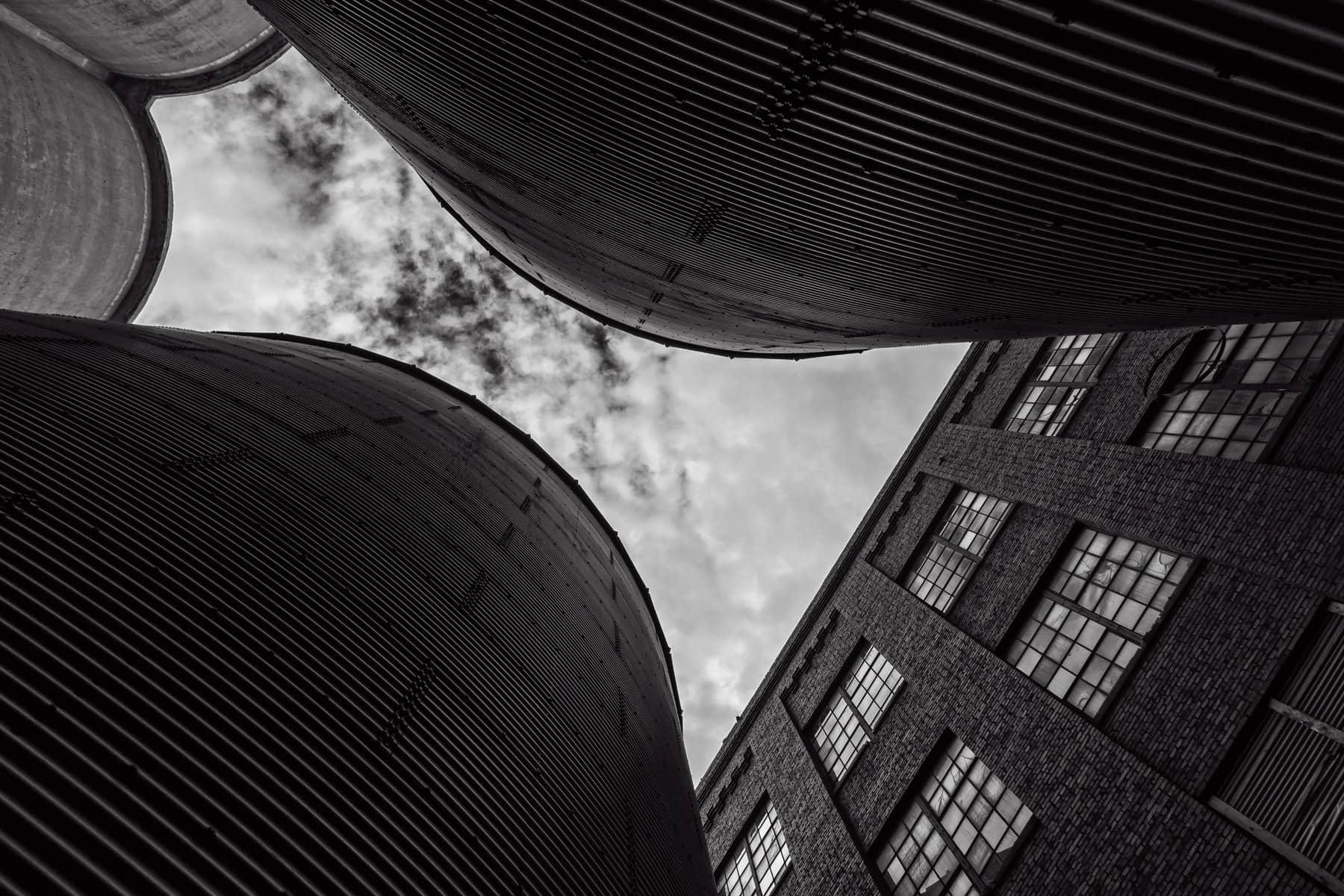 Grain silos and a rundown warehouse spotted near Downtown McKinney, Texas.