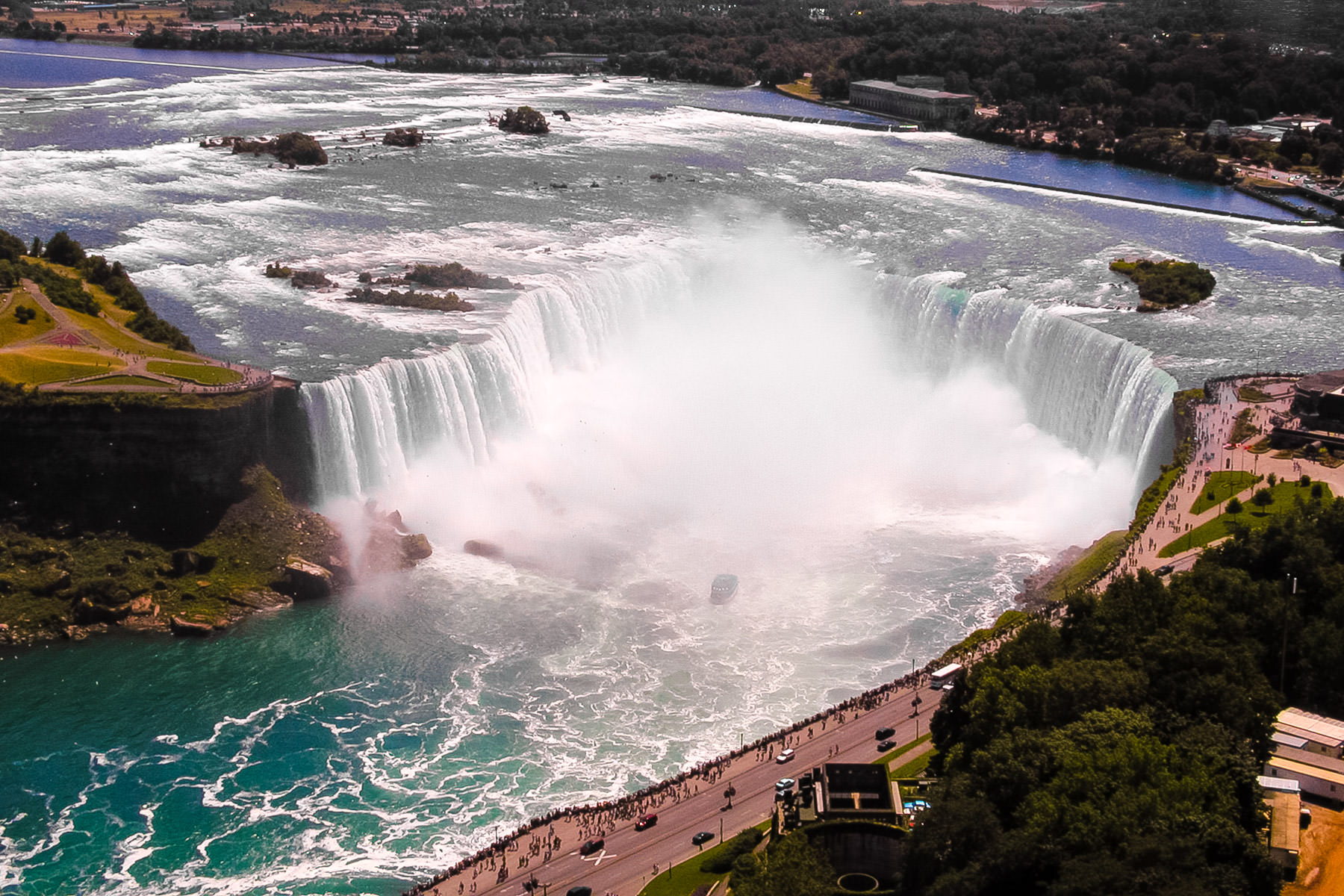 The Canadian (Horseshoe) Falls at Niagara Falls, Ontario, as seen from the nearby Skylon Tower.