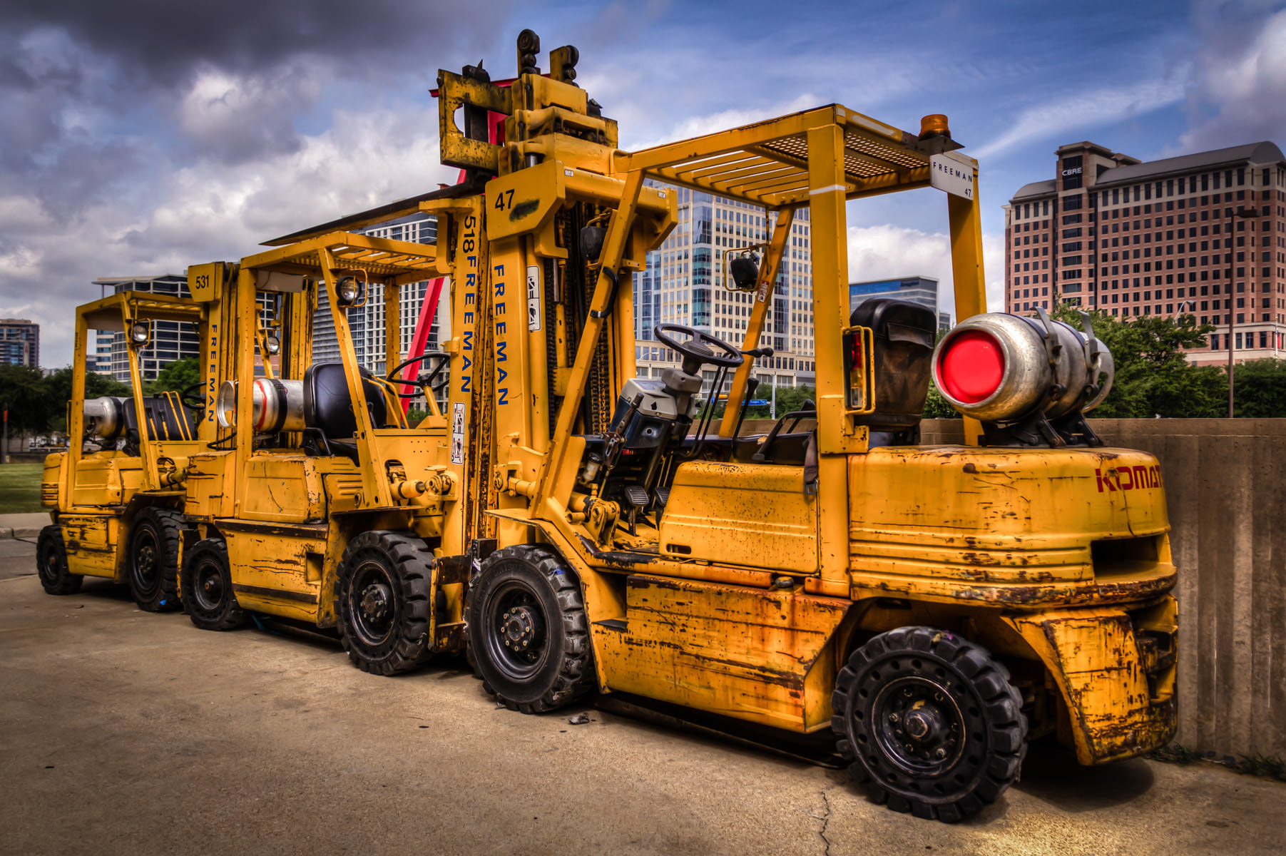 I found these forklifts next to a loading dock at the Meyerson Symphony Center in Dallas.