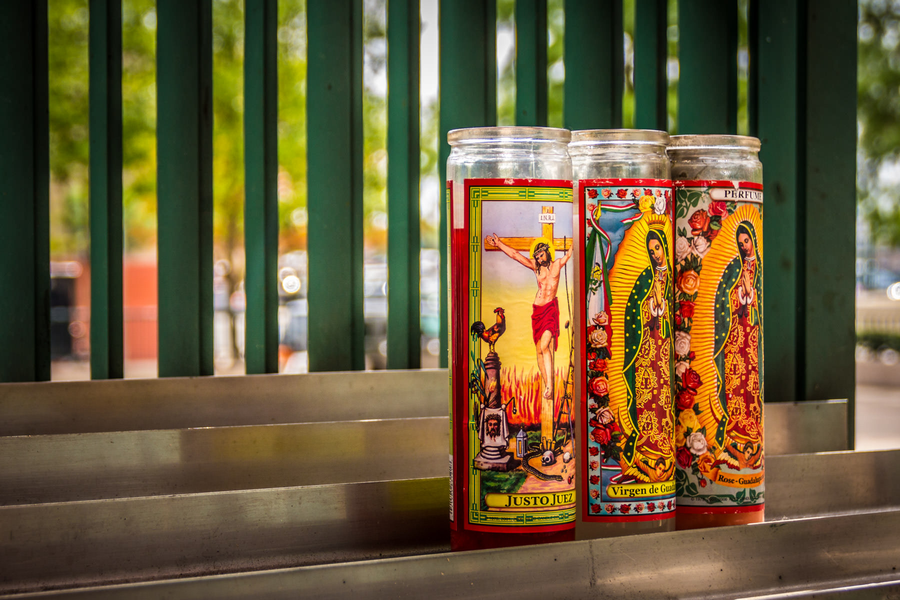 Votive candles outside the Cathedral Shrine of the Virgin of Guadalupe in the Dallas Arts District.