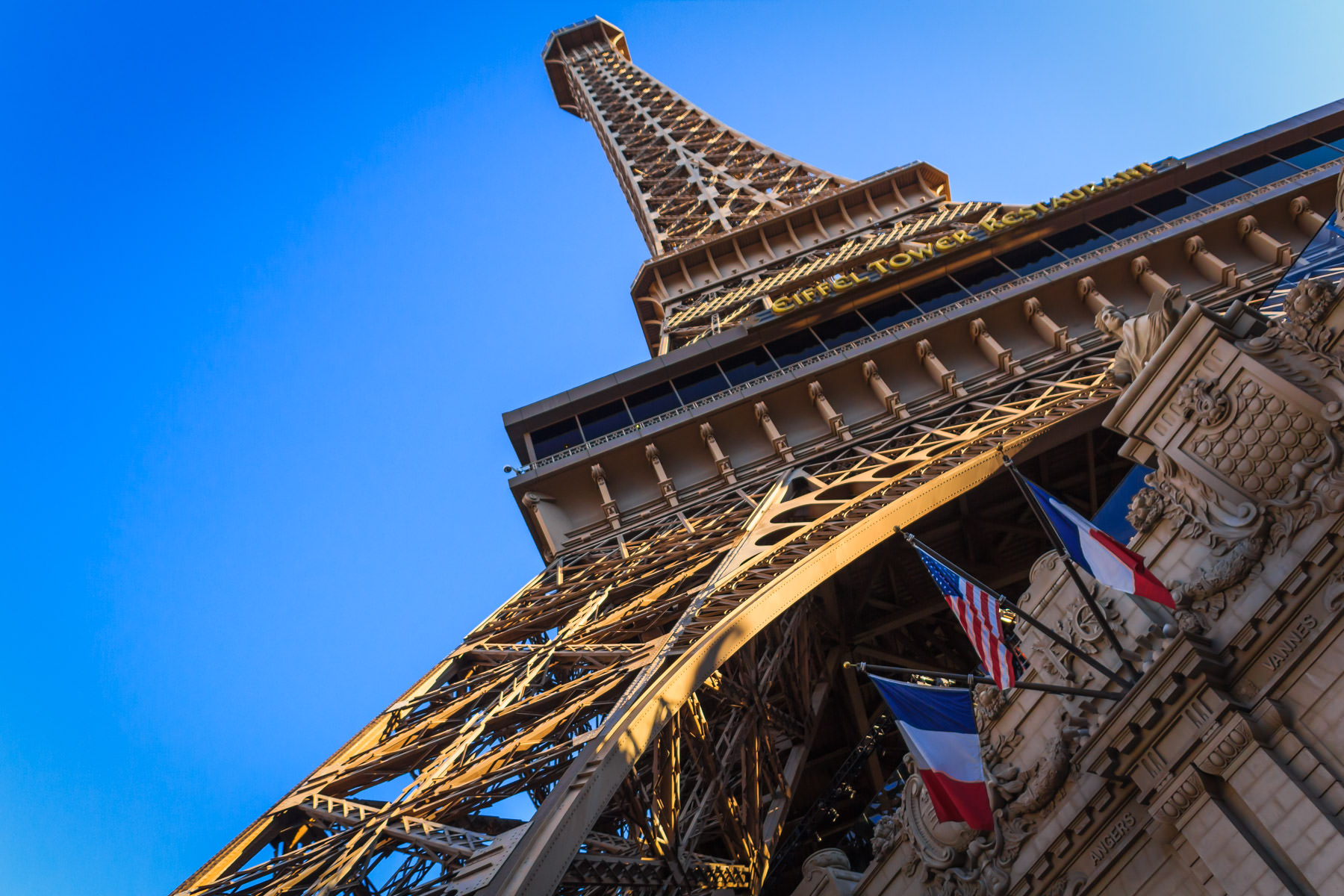 Paris Las Vegas' reproduction of the Eiffel Tower rises into the clear sky of the Nevada desert.