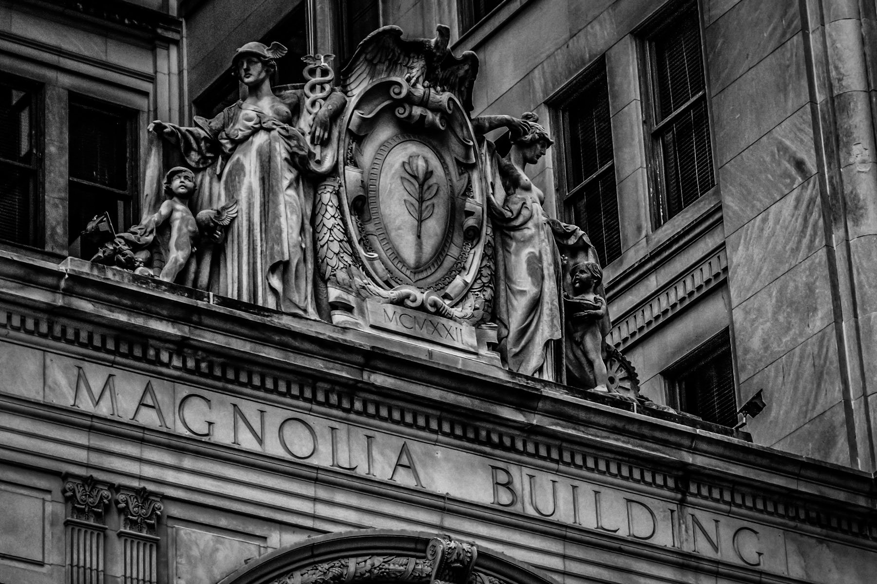 Detail of Dallas' Magnolia Building (now the Magnolia Hotel), built in 1921 as the headquarters of the Magnolia Petroleum Company, which was later absorbed into Mobil Oil.