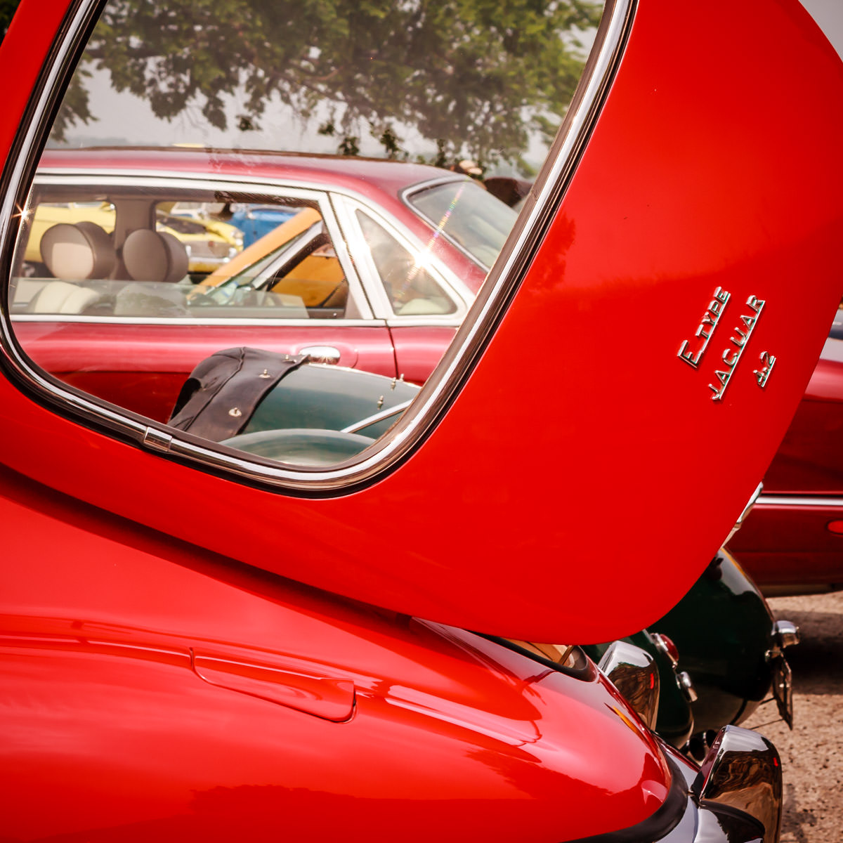 Detail of a classic Jaguar at Dallas' All British and European Car Day.